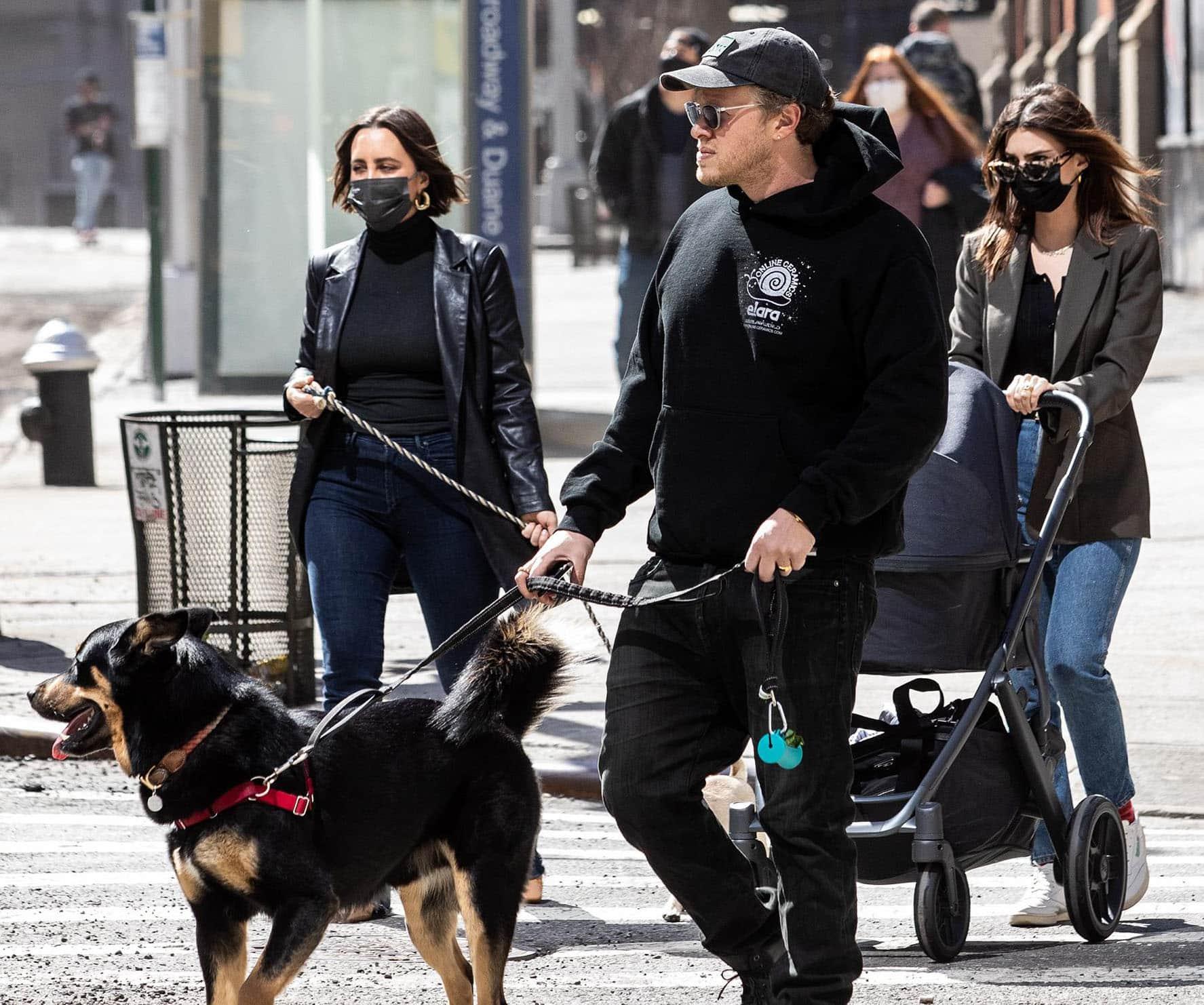 Sebastian Bear-McClard and wife Emily Ratajkowski take their newborn son, Sylvester Apollo, out in New York City on March 20, 2021