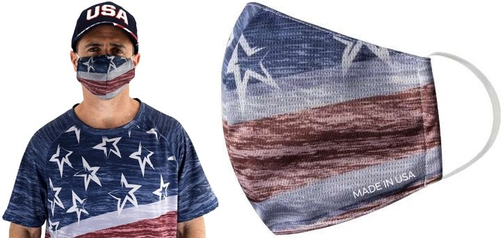 Easy to wear and patriotic face mask that is made in the USA