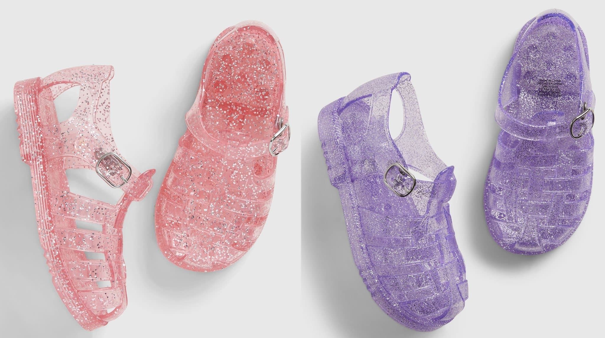 Gap offers classic jelly shoes with round caged toes in several colorways for toddlers