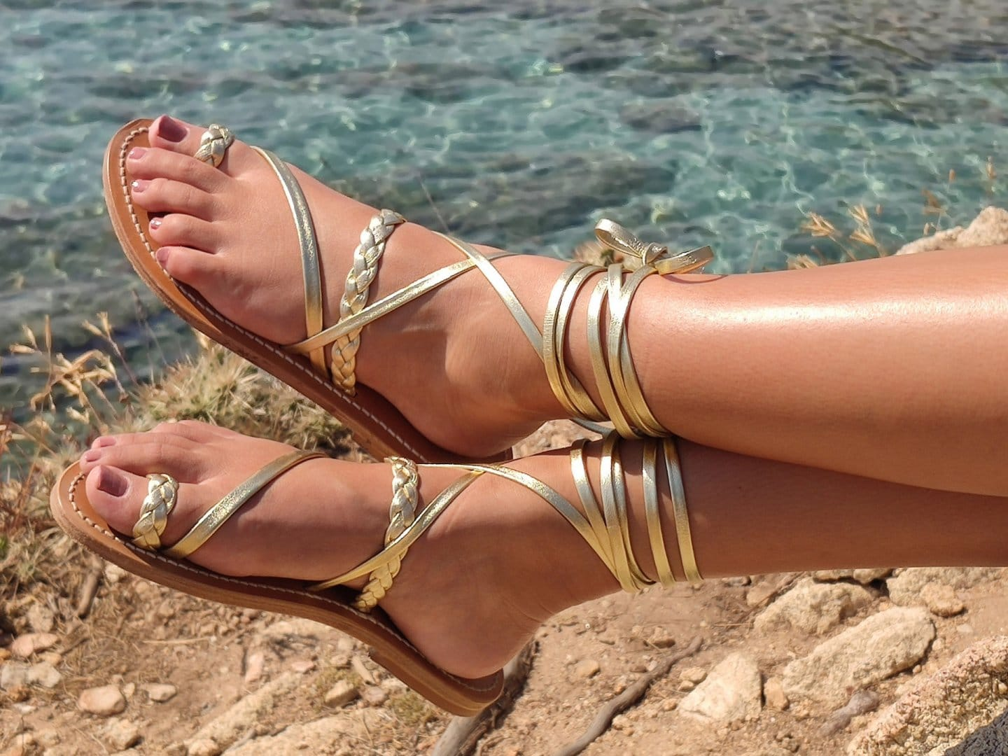 Gold wraparound ankle-strap sandals from K. Jacques