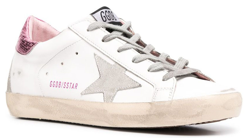The celebrity-favorite Golden Goose Superstar has the signature distressed look and star patch at the sides