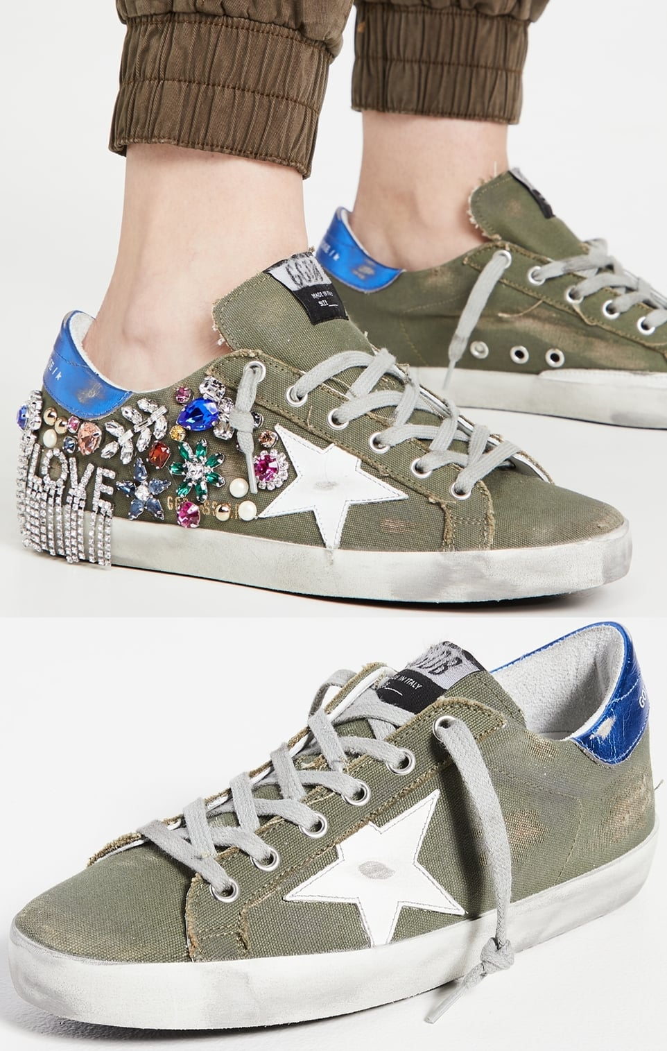 Green/white/blue sneakers with crystal detailing at one heel and scuffed, dirtied finish