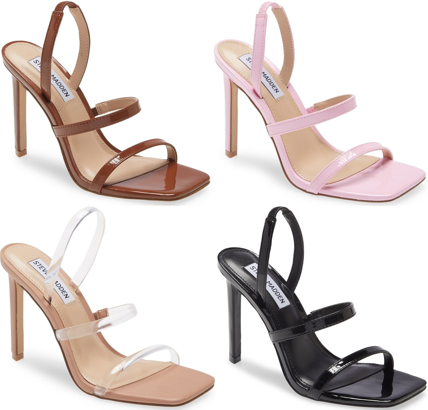 Slender straps grace the vamp of a striking, contemporary evening Gracey sandal from Steve Madden set on a tall, tapered heel and fashioned with an angular square toe