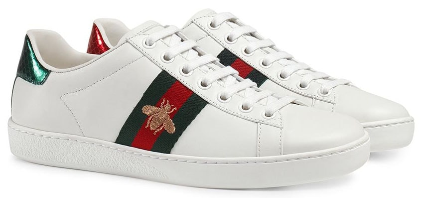 A classic favorite, the Gucci Ace sneakers have the fashion house's iconic gold bee embroidery against the red-and-green side stripe detail