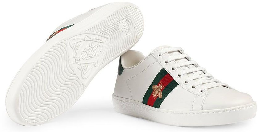 Gucci's Ace sneakers are made from leather and feature red and green ayers on the heel counters