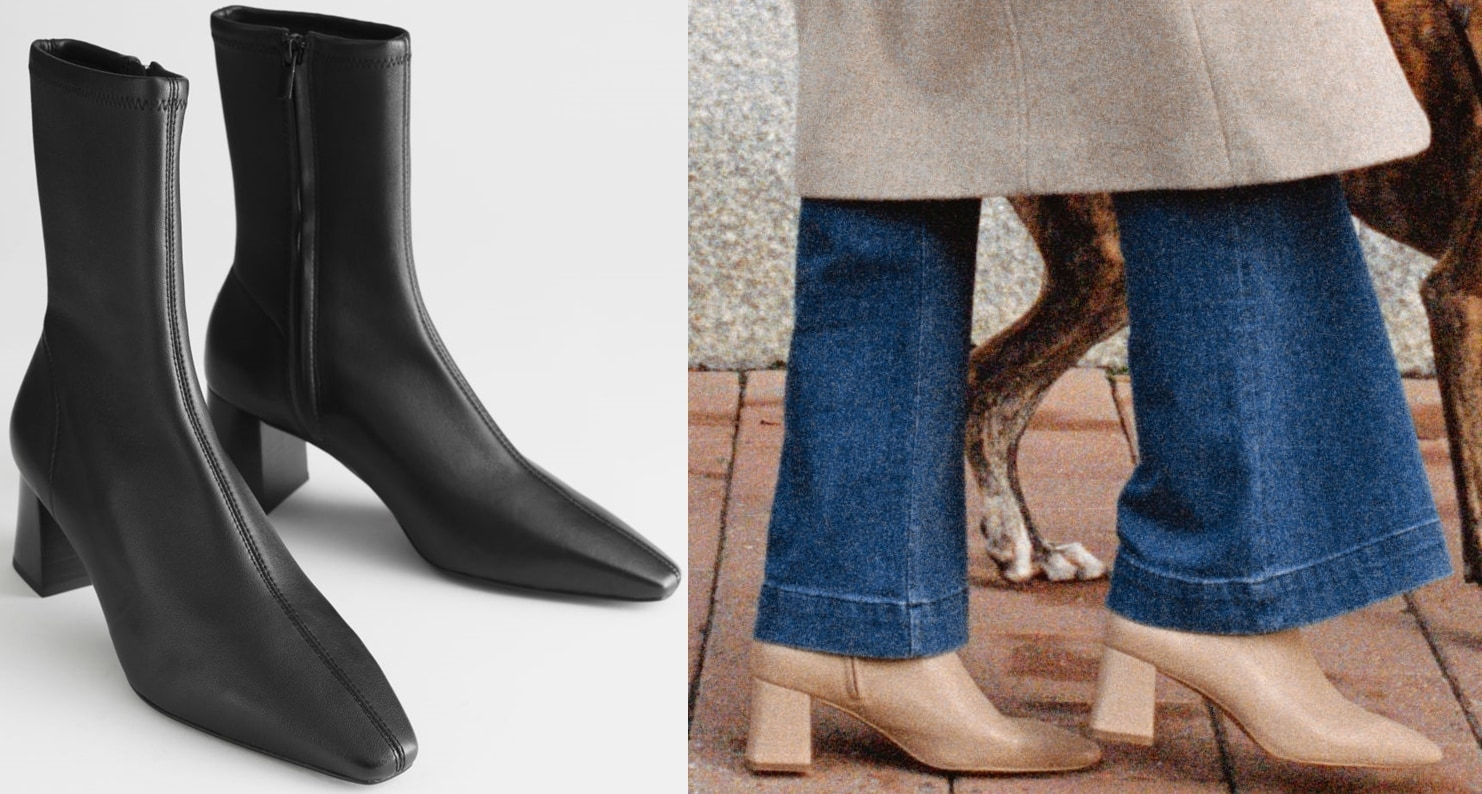 Leather sock boots with a pointed square-toe, cubic block heel, and topstitch detailing
