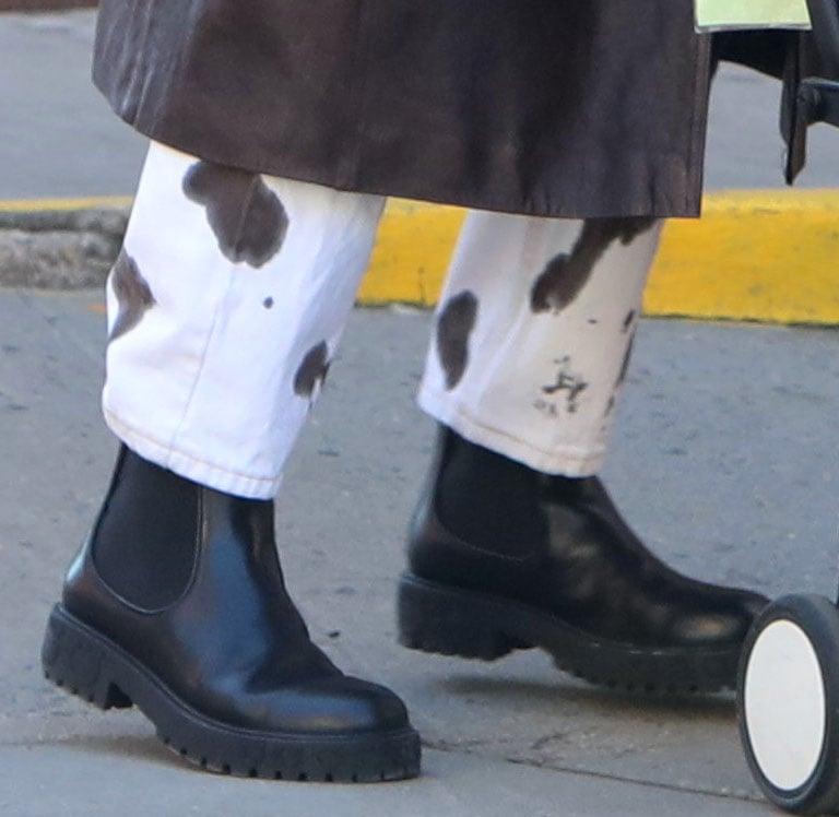 Irina Shayk wears the Salvatore Ferragamo Varsi Chelsea boots