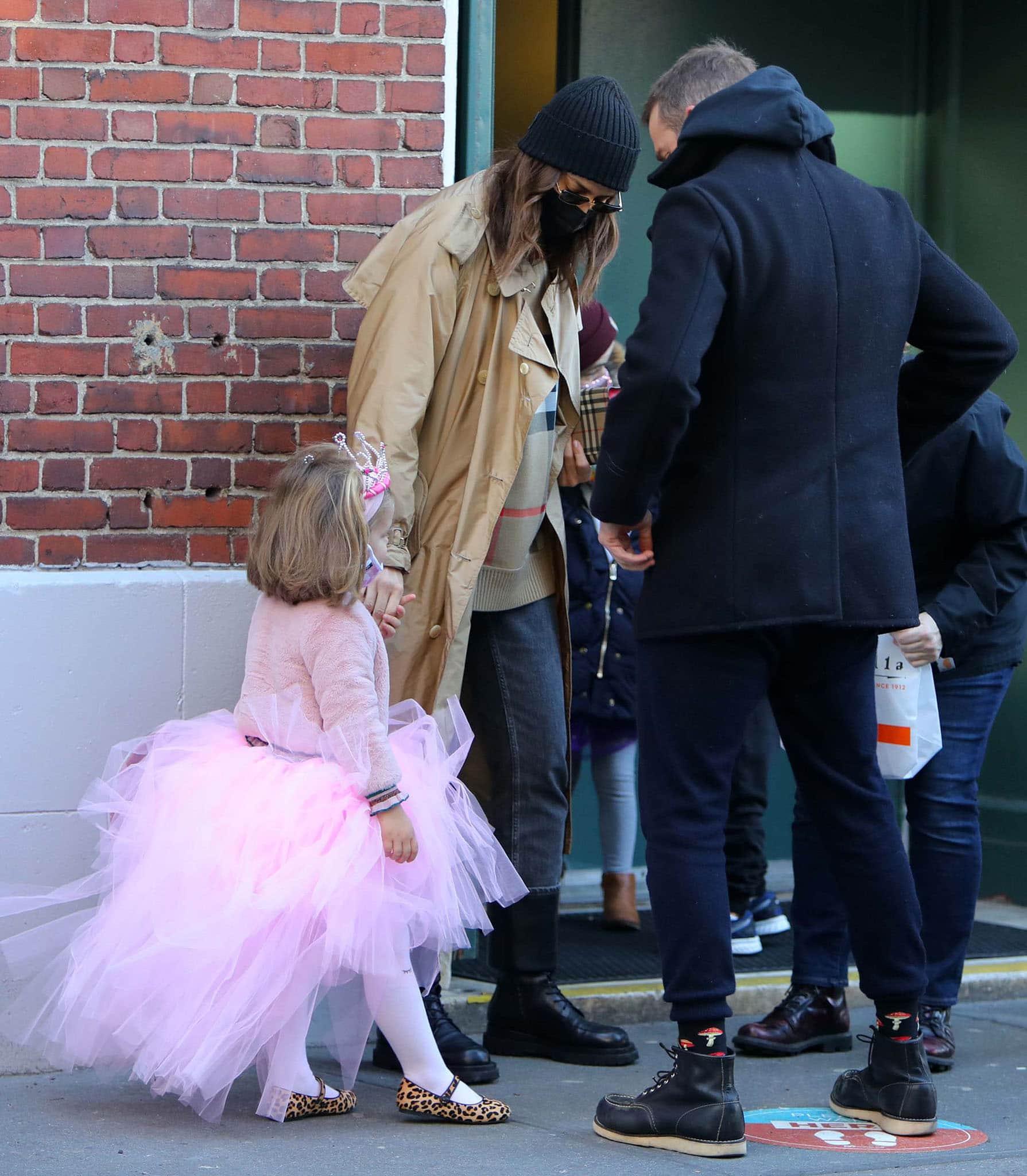 Irina Shayk and ex Bradley Cooper take their child, Lea de Seine, to school in New York City on March 19, 2021