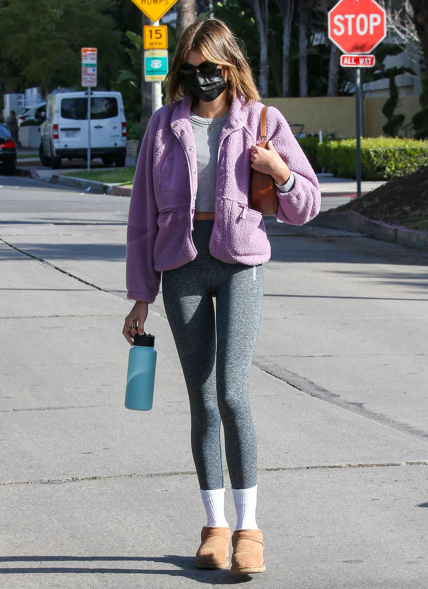 Kaia Gerber heads to a Pilates class in Los Angeles on March 9, 2021