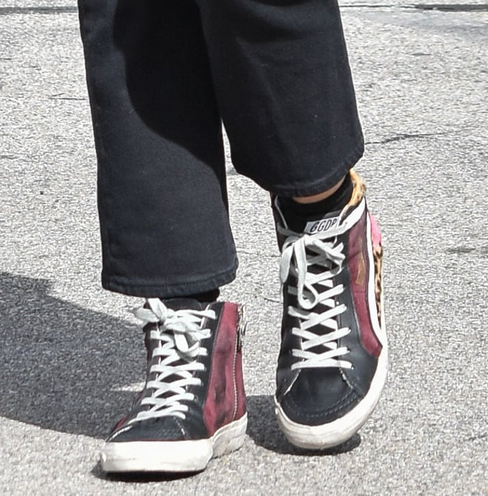 Lucy Hale finishes off a casual-chic look with Golden Goose Slide high-tops