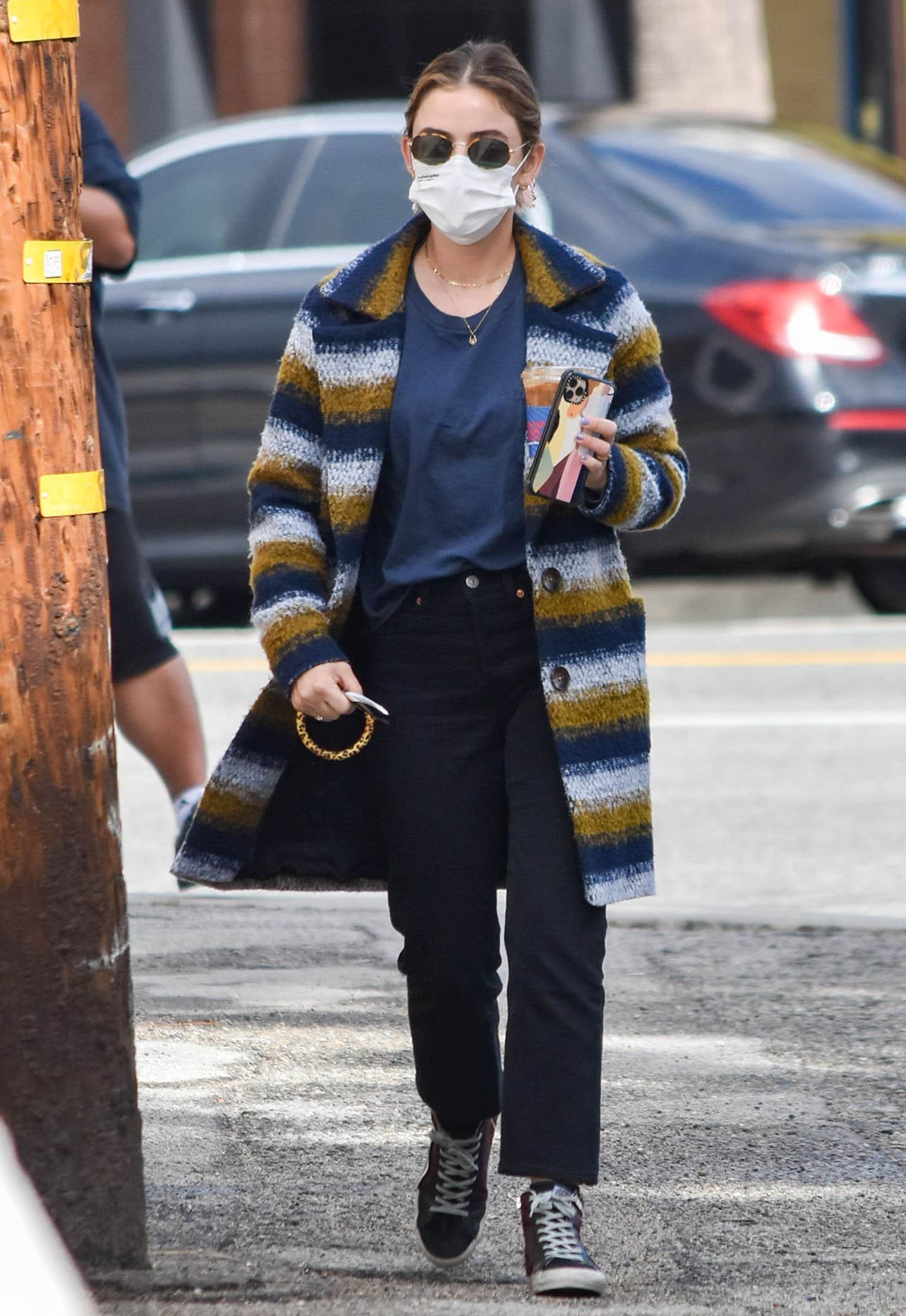 Lucy Hale grabs iced coffee from a neighborly coffee shop in Los Angeles