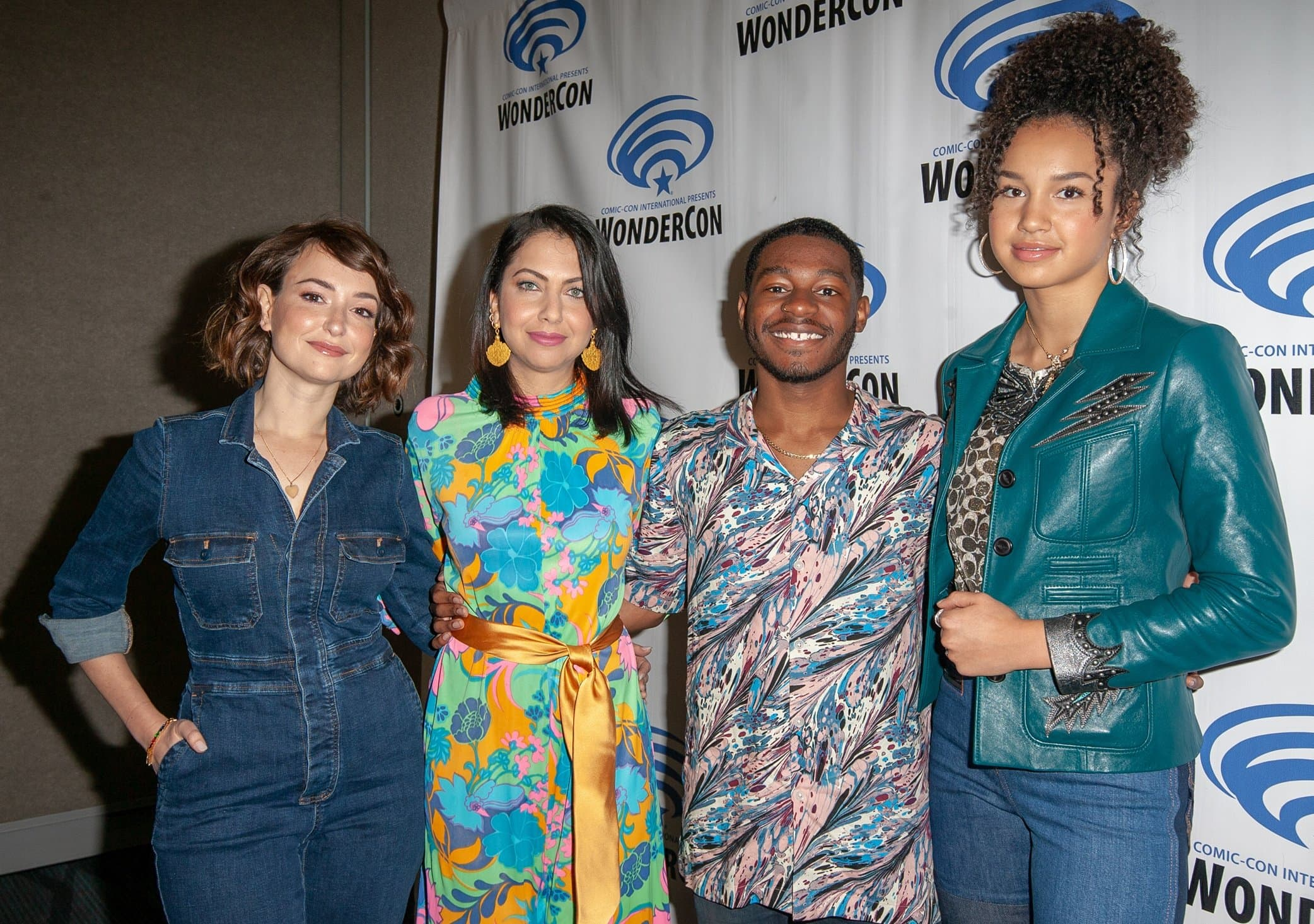 Marvel Rising co-stars Kamil McFadden (Patriot), Milana Vayntrub (Squirrel Girl), and Kathreen Khavari (Ms. Marvel) at the premiere of Marvel Rising: Heart of Iron