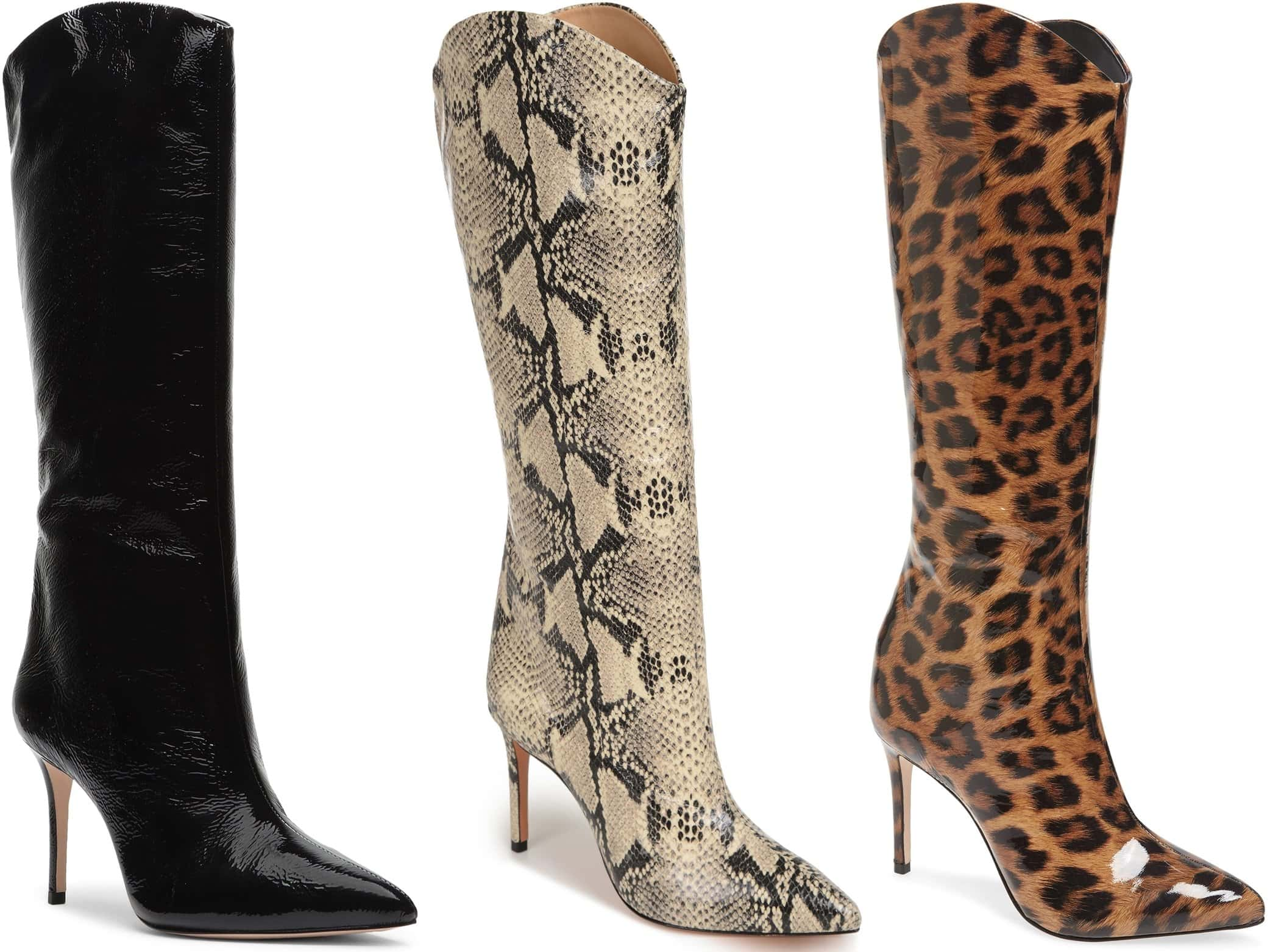 This high-heeled boot features a stiletto heel and pointed toe
