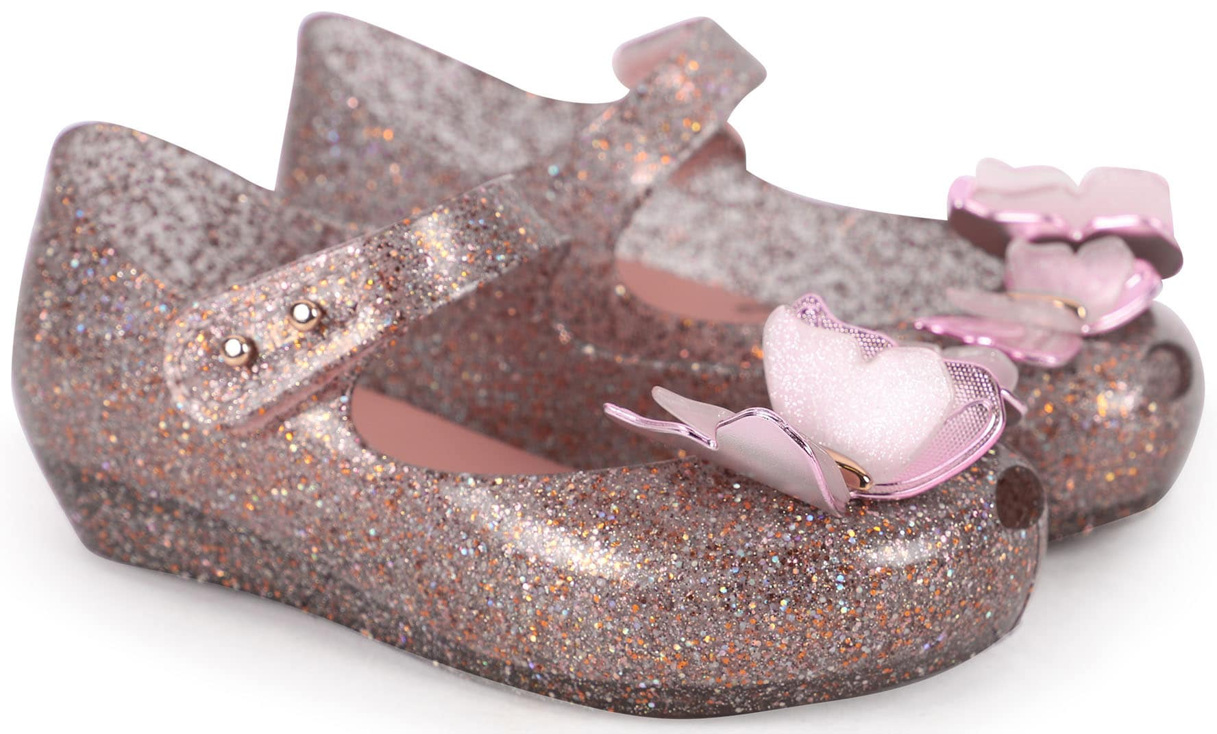 Give your little girl's outfit a touch of whimsical flair with these glittery pink butterfly jelly flats from Melissa