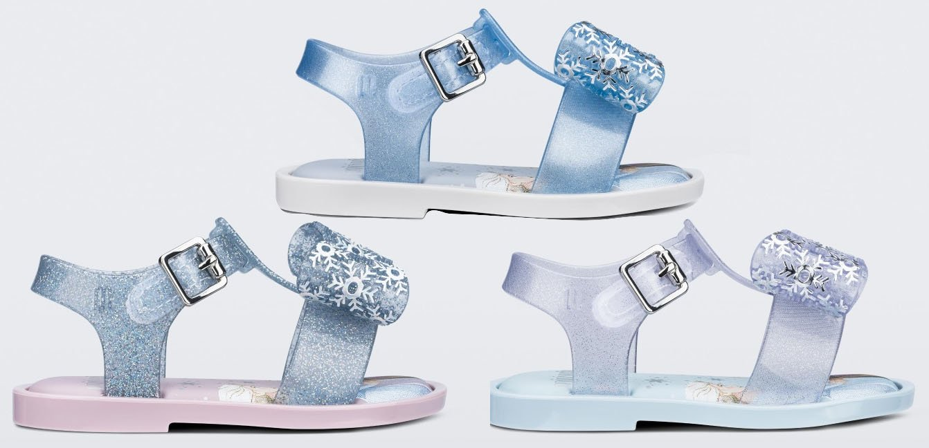 For the Frozen-obsessed kids, Melissa designed these Frozen-themed Mar sandals in cute ice-like colorways