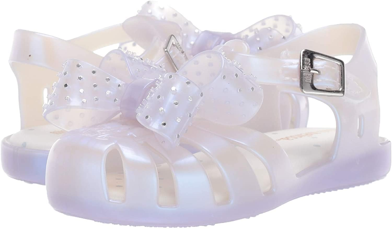 The Mini Aranha XIII shoes are also available in lilac pearl, pink crystal, and black