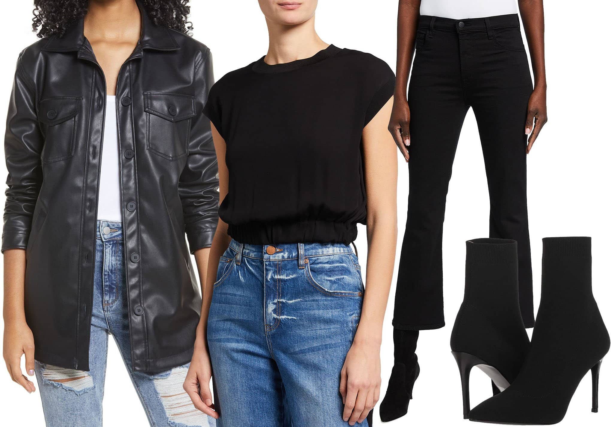 BP. Faux Leather Collar Jacket, Alice + Olivia Treena Cropped Short-Sleeve Blouse, J. Brand Franky High Rise Crop Boot-Cut Jeans, Steve Madden Claire Sock Boots