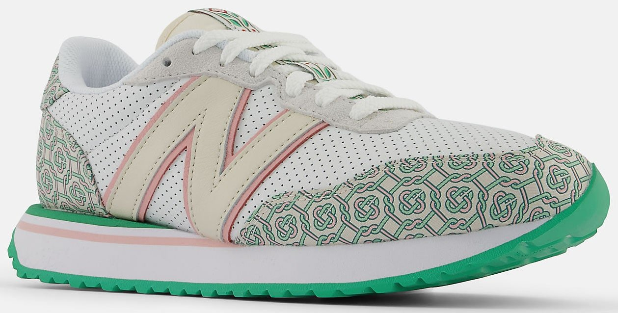 The New Balance and Casablanca 237 shoe collaboration features monogram prints and N branding done in the label's signature colors