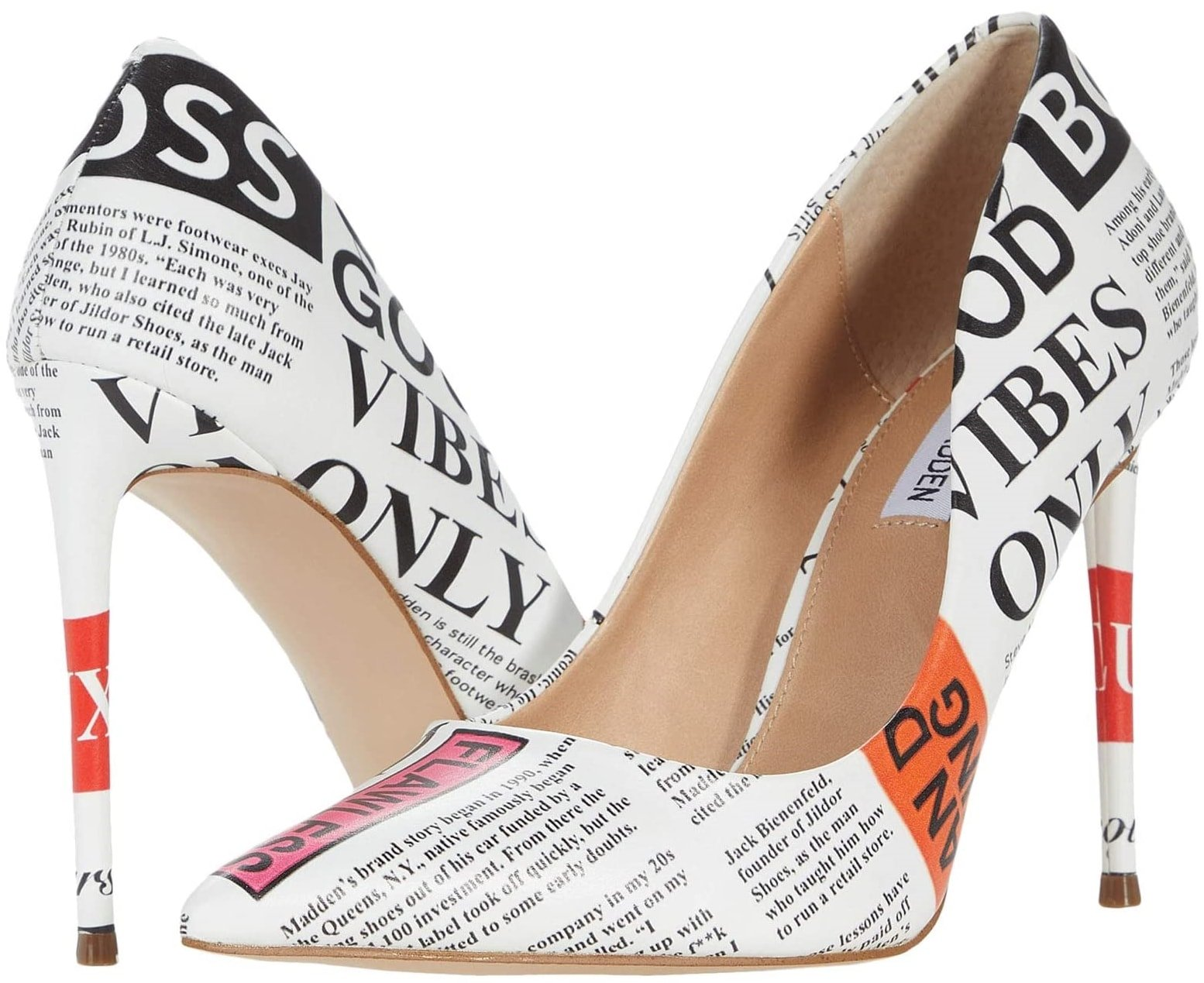 This newspaper print dress pump features a leather upper and pointed-toe silhouette