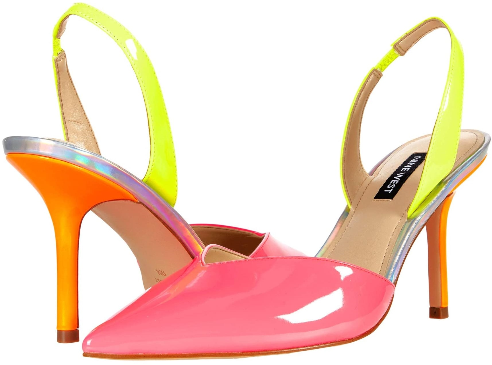 Your outfit will get a pop of color with Nine West's hot pink and yellow patent Hello pointed toe stiletto heels
