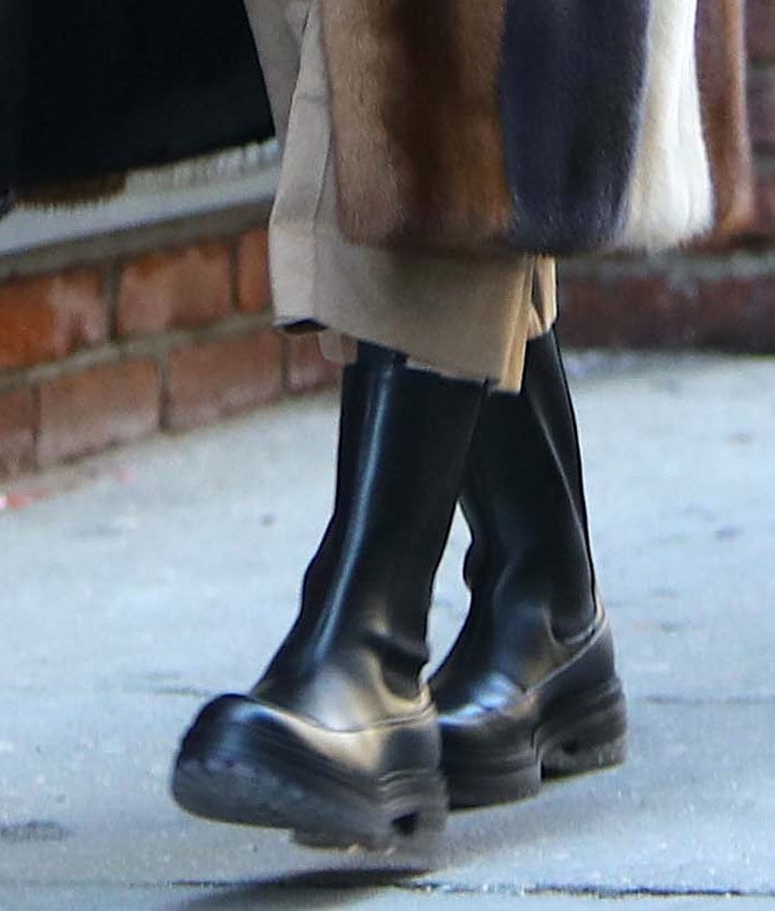 Olivia Palermo completes her street-style winter outfit with Gianvito Rossi's Chester Chelsea boots
