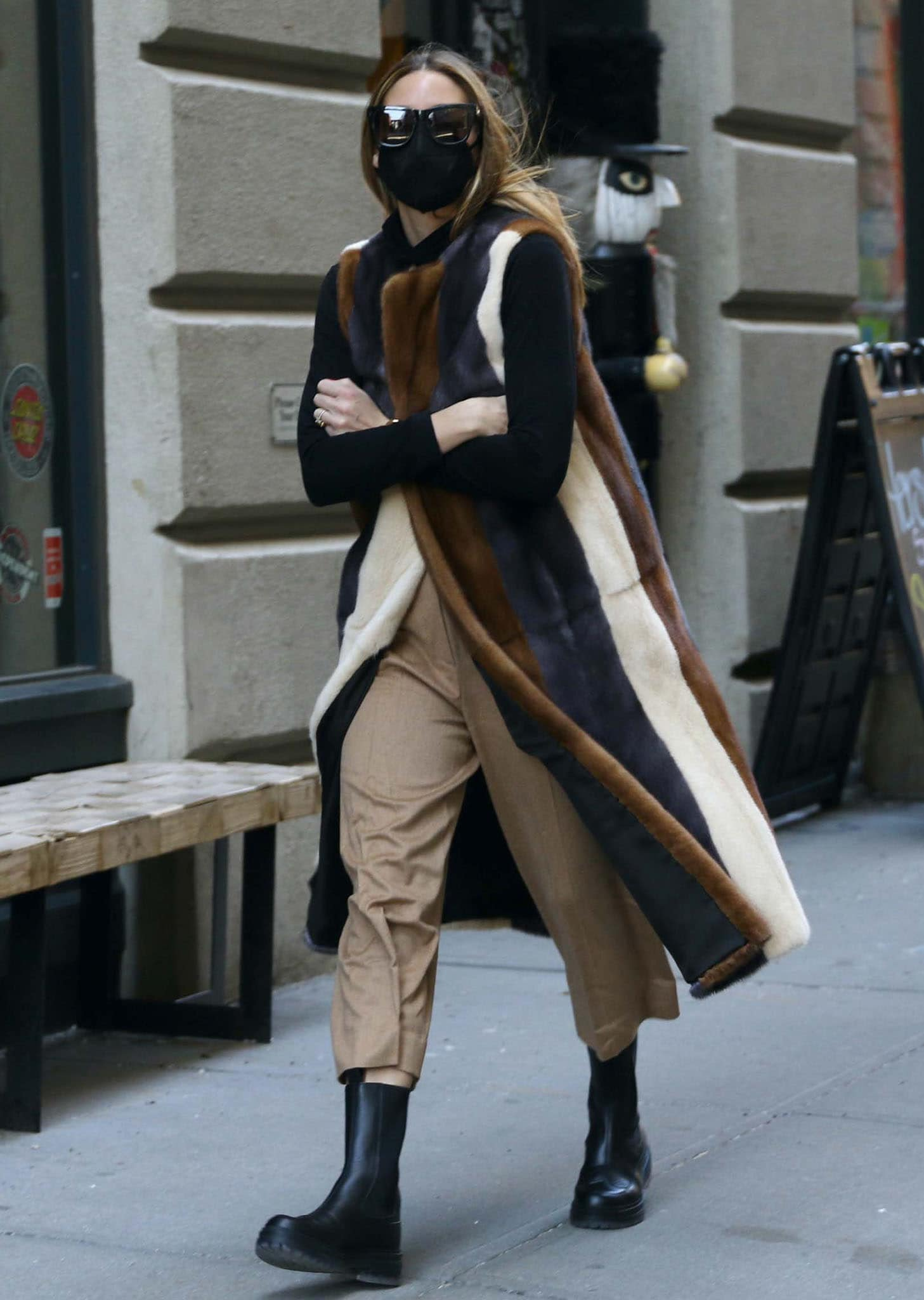 Olivia Palermo walking around her DUMBO neighborhood in Brooklyn, New York on March 3, 2021