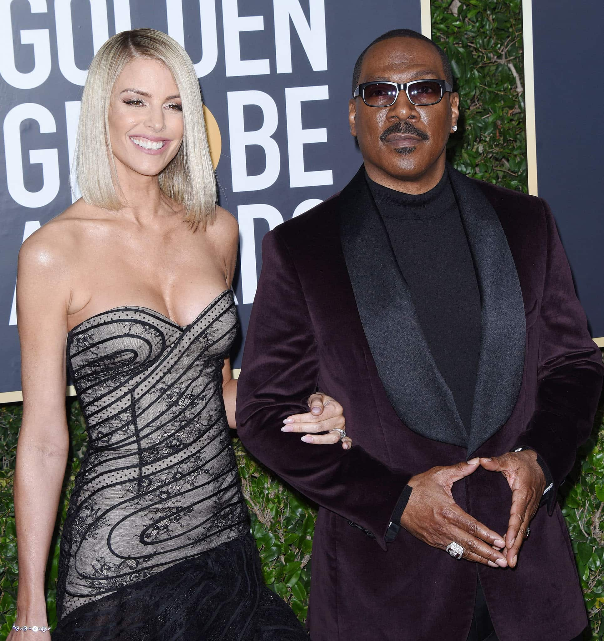 Paige Butcher and Eddie Murphy attend the 77th Annual Golden Globe Awards at The Beverly Hilton Hotel on January 05, 2020