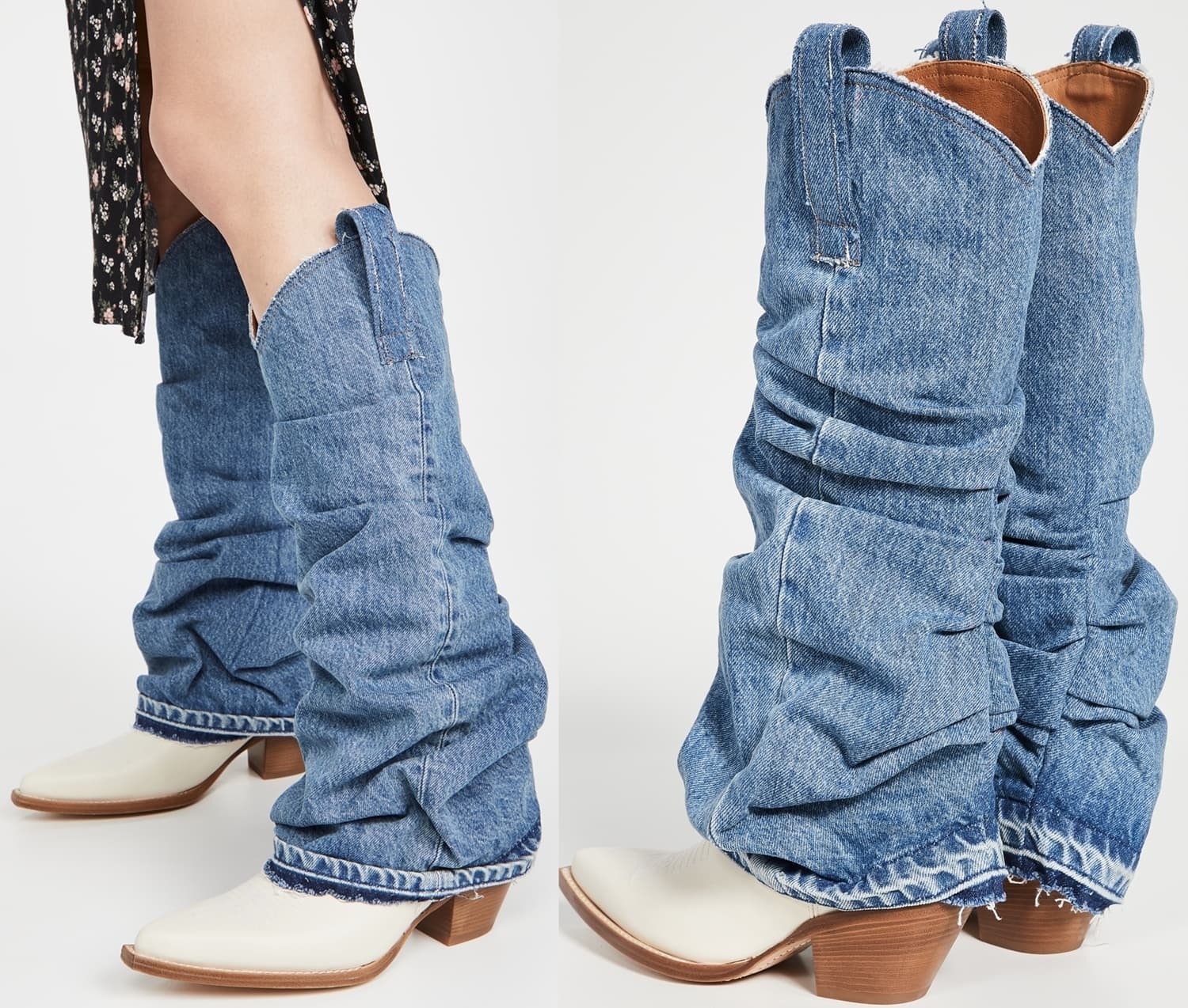 Slouchy denim overlay boots with pull tabs at the sides
