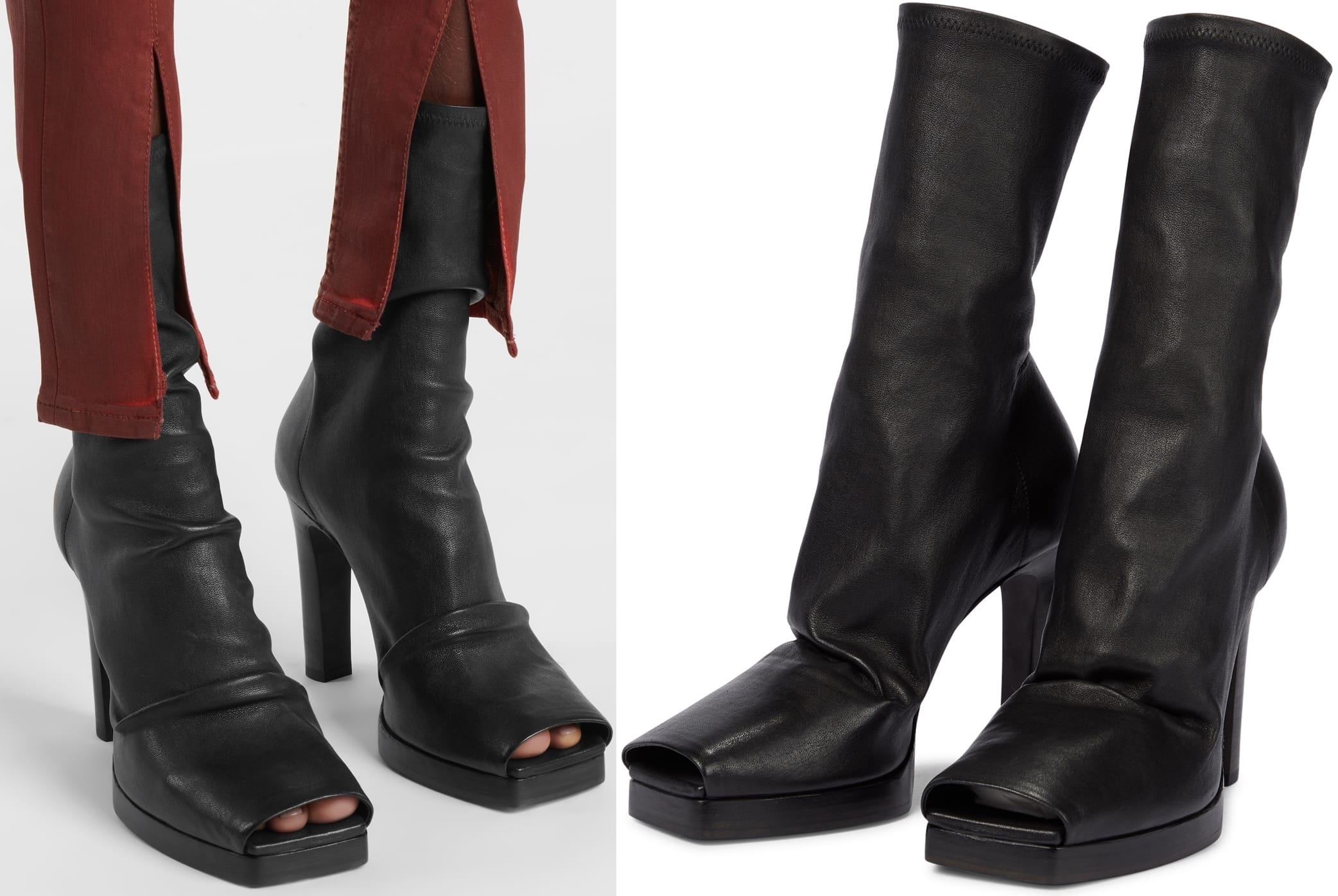 Made from cushioning nappa leather, these ankle boots have contemporary square peep-toes and plinth heels