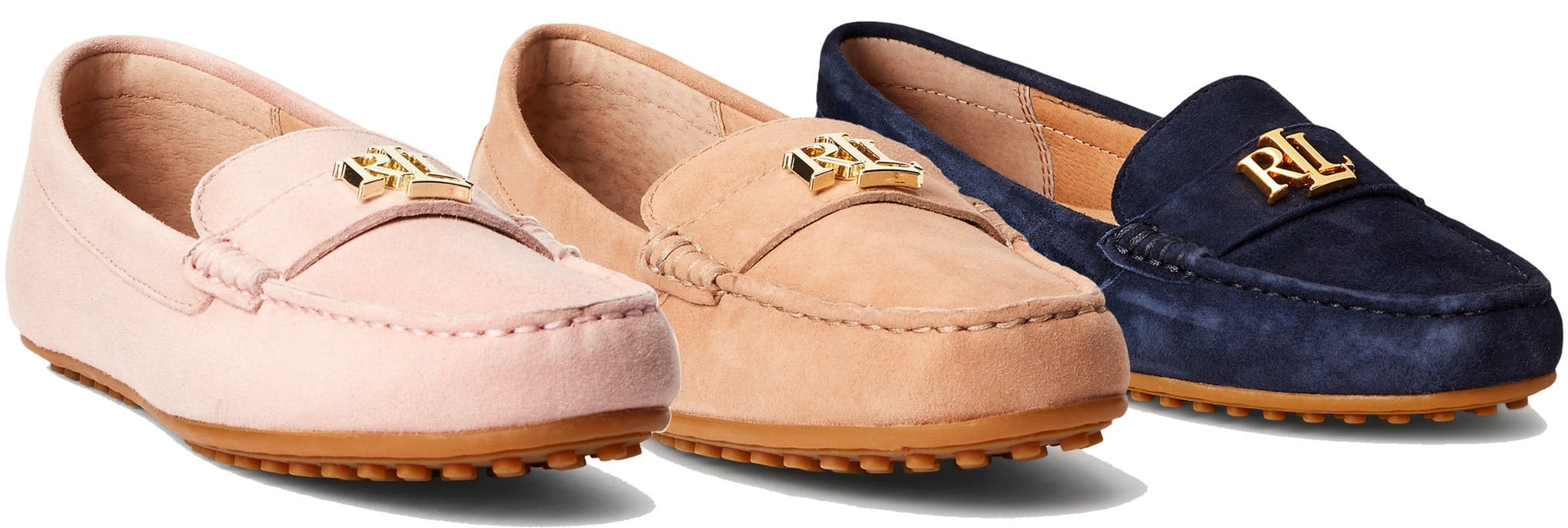 Ralph Lauren's LRL logo adds style to these modern suede loafers, which also feature rubber nub outsoles