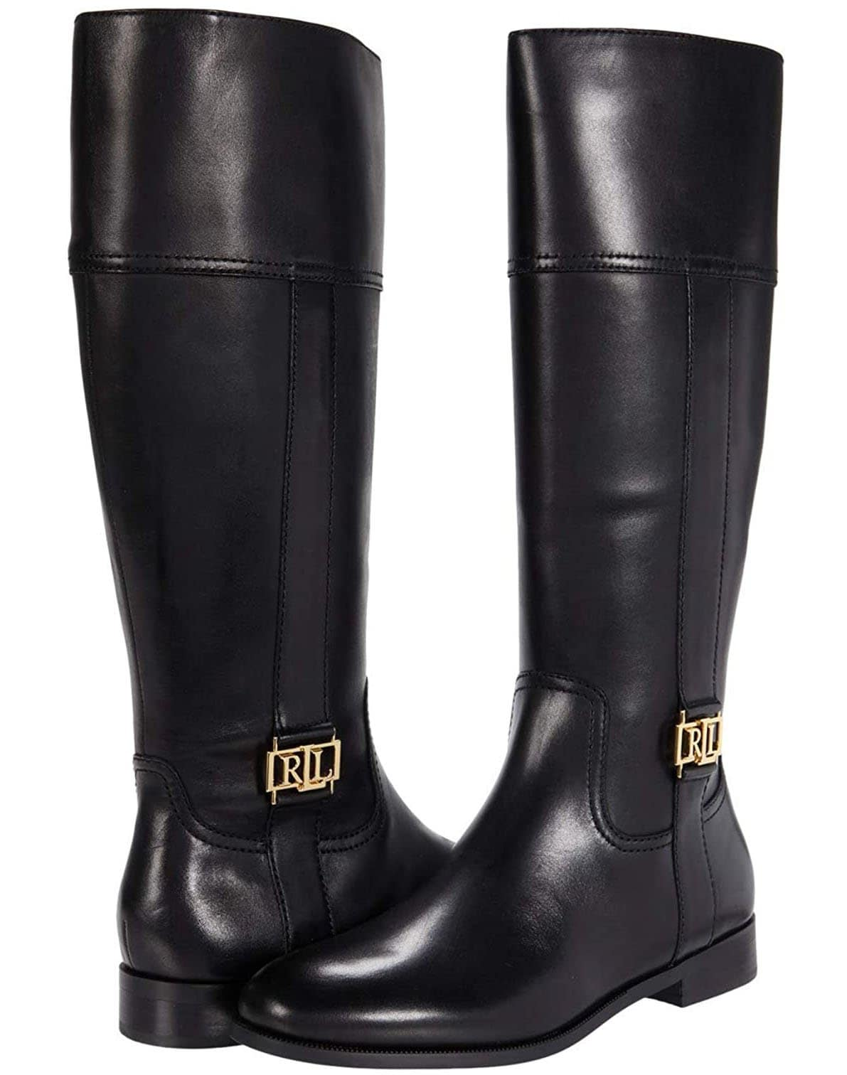Ralph Lauren's classic minimalist Berdie boots feature the brand's signature gold-tone LRL logo hardware on the sides