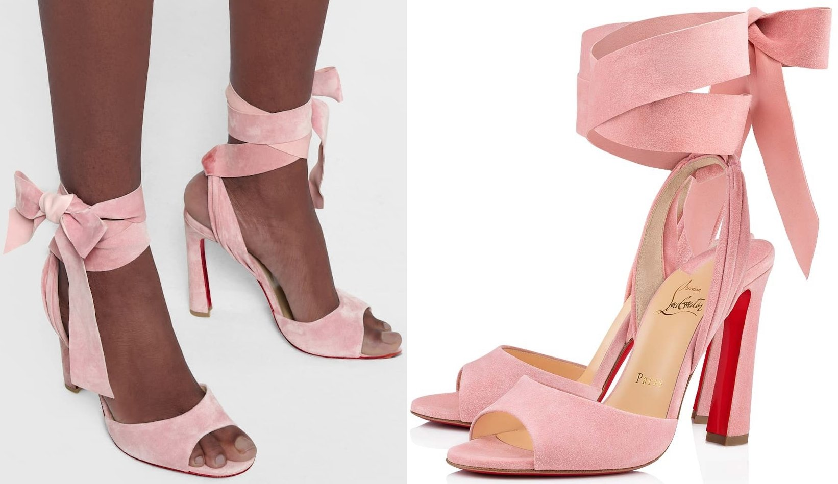 In a dusty pink hue, the peep-toe style is made from suede with ankle ties that resemble oversized ribbon-bows