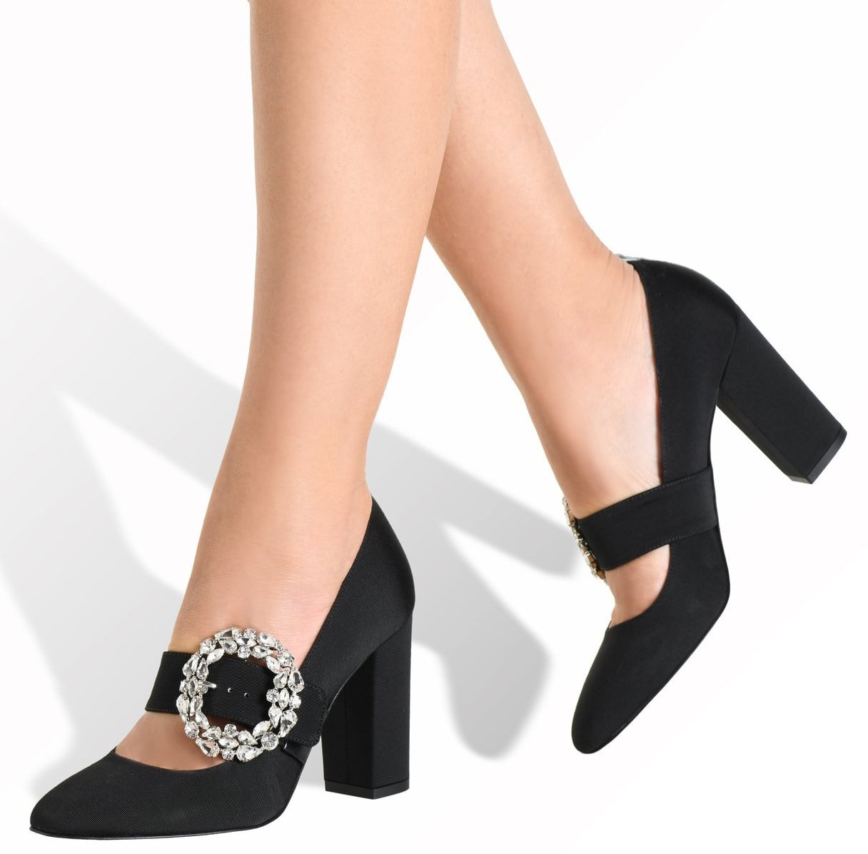 The SJP Celine pumps are known for their crystal buckled Mary Jane straps