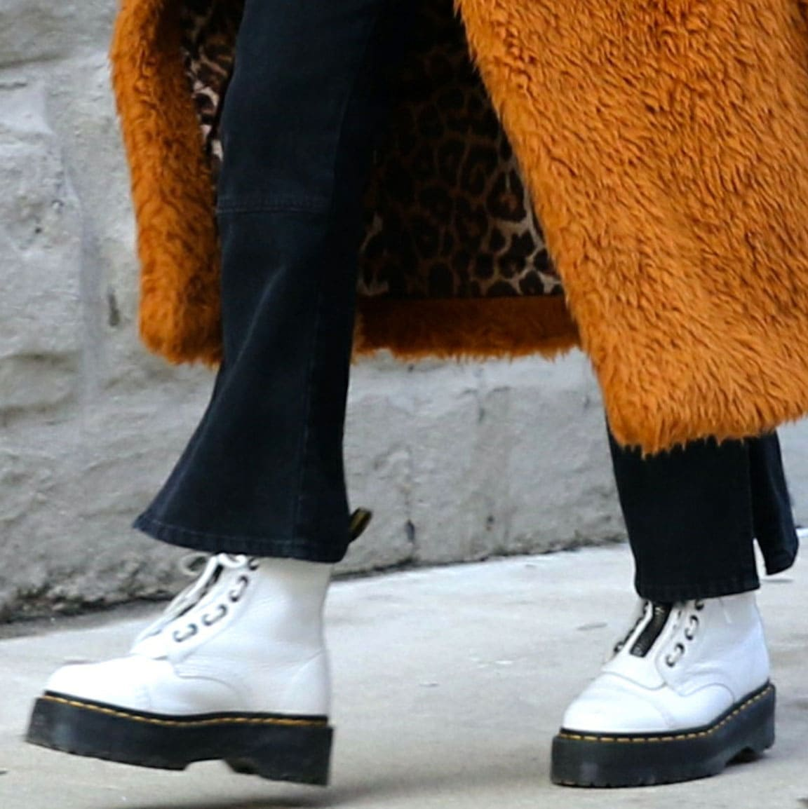 Selena Gomez completes her look with Dr. Martens Sinclair platform boots