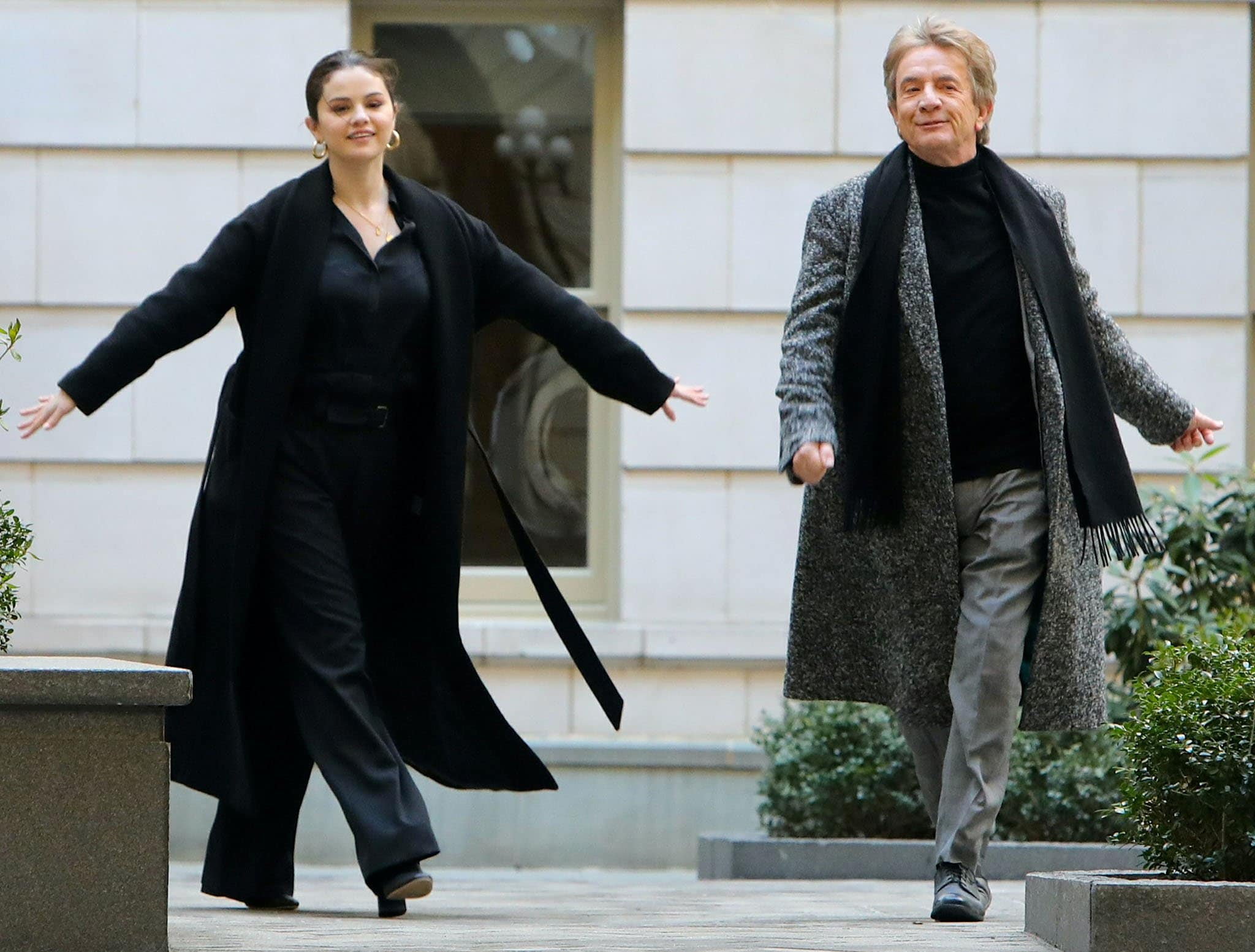 Selena Gomez and Martin Short filming Only Murders in the Building on March 10, 2021