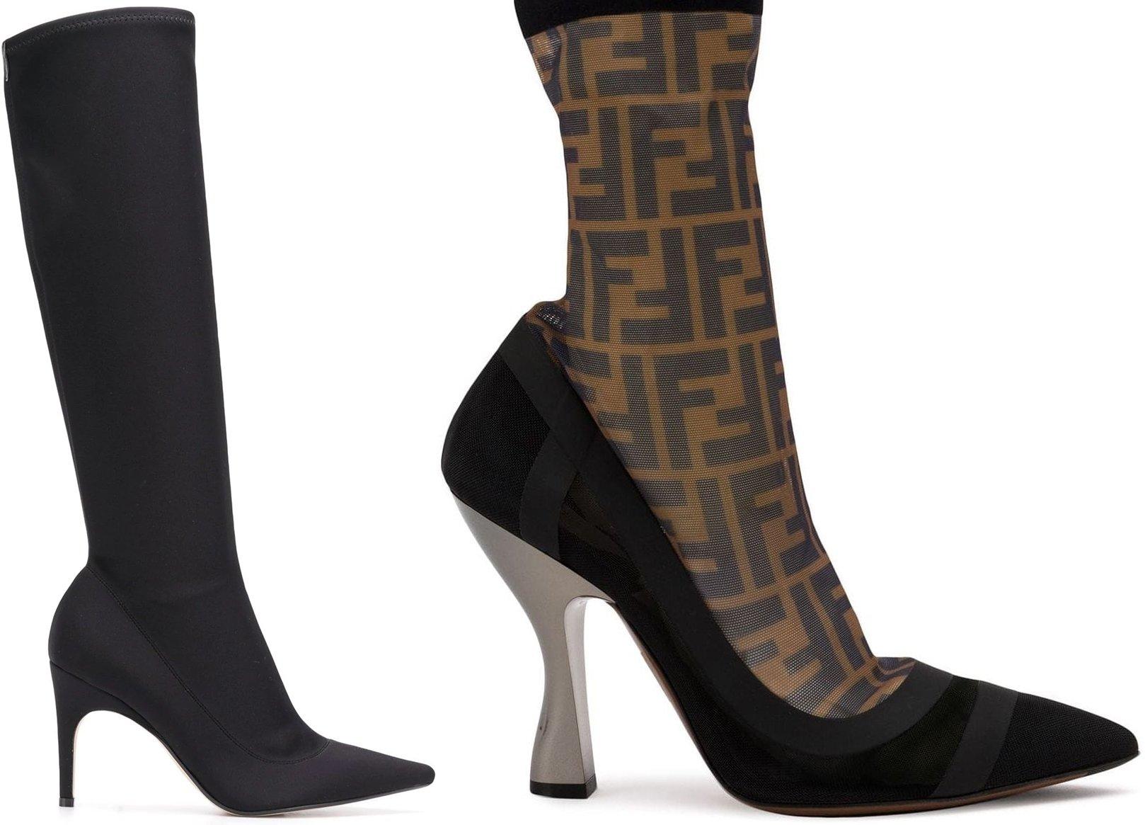 Sergio Rossi Kit sock boots and Fendi Colibrì FF motif sock boots