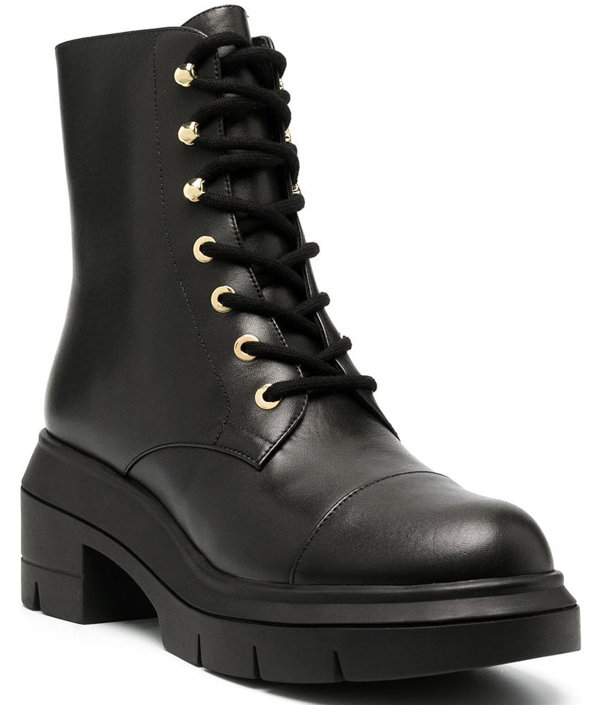 Tough but chic, Stuart Weitzman's Nisha military boots have a paneled design with round toes and block heels