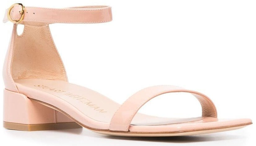 A sleek and slender sandal with a square toe and 1.6-inch block heel for style and comfort