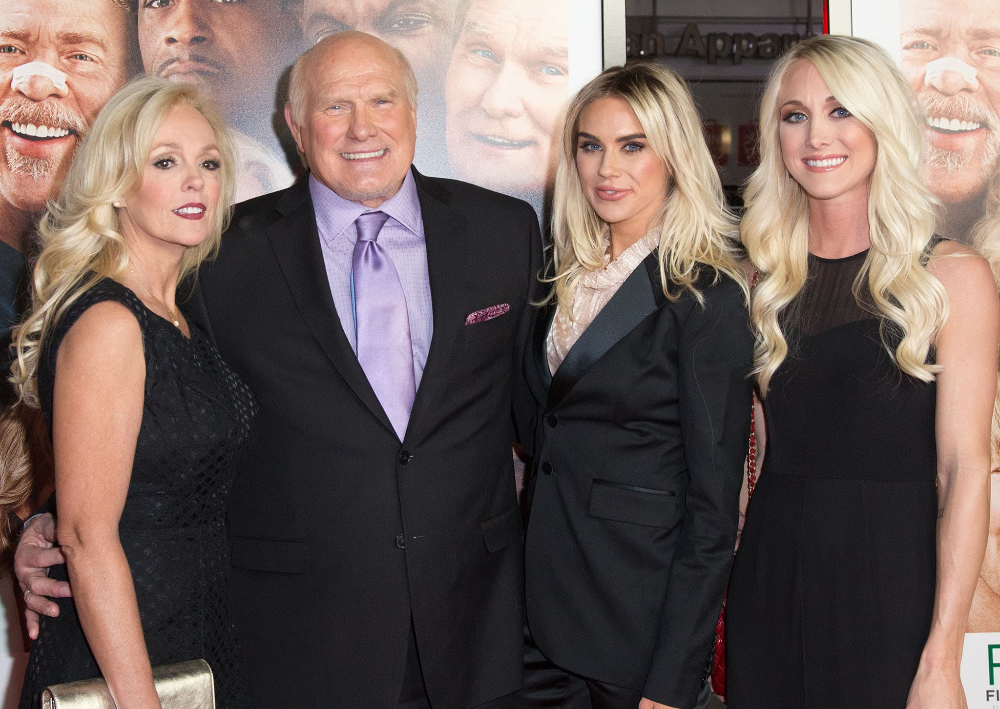 Tammy Bradshaw and Terry Bradshaw with his daughters, Rachel and Erin, with Charla Hopkins at the Father Figures premiere in December 2017