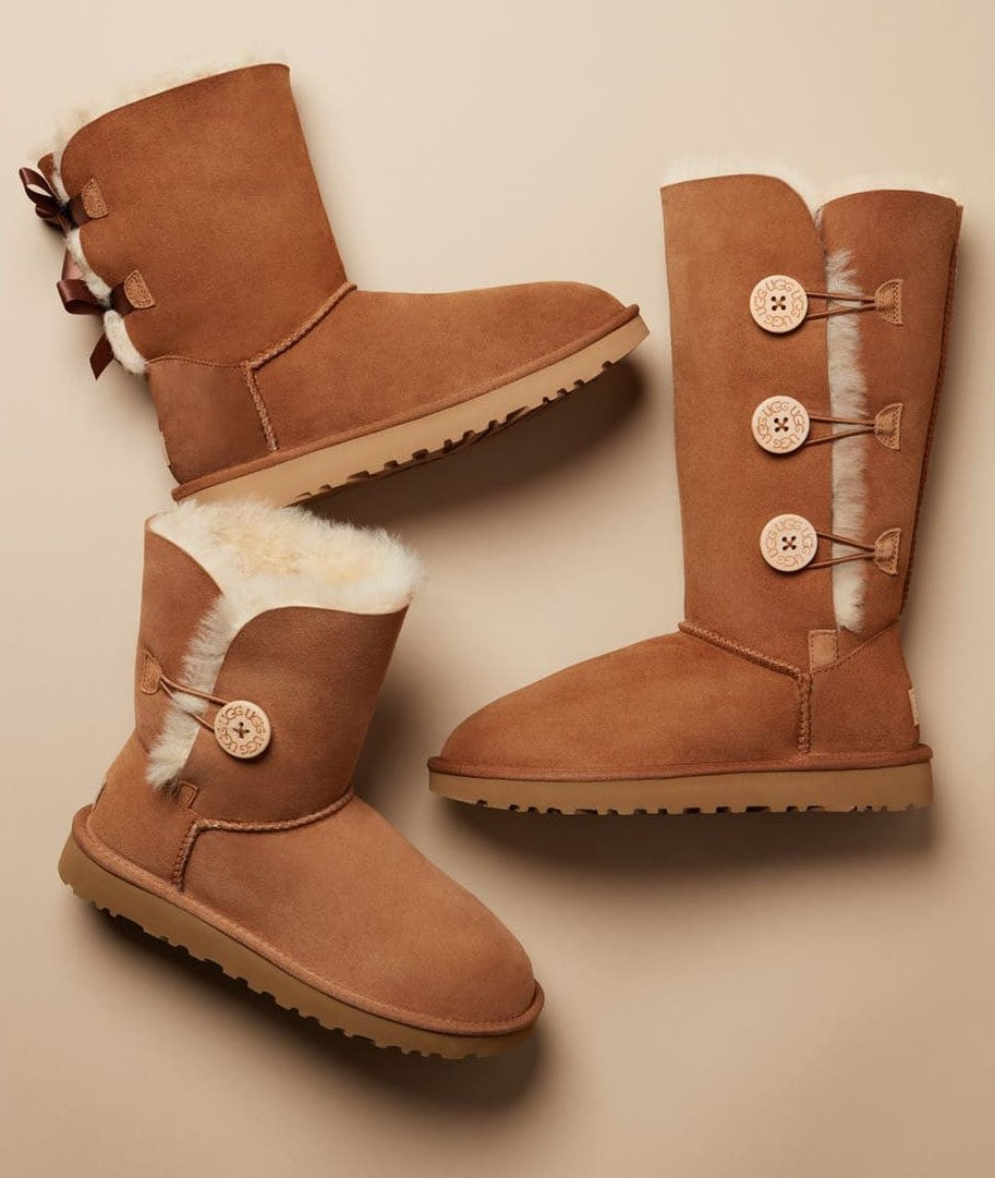 The Ugg Bailey Button II features a waterproof upper with shearling lining, a foam-cushioned footbed, and a button-and-loop closure