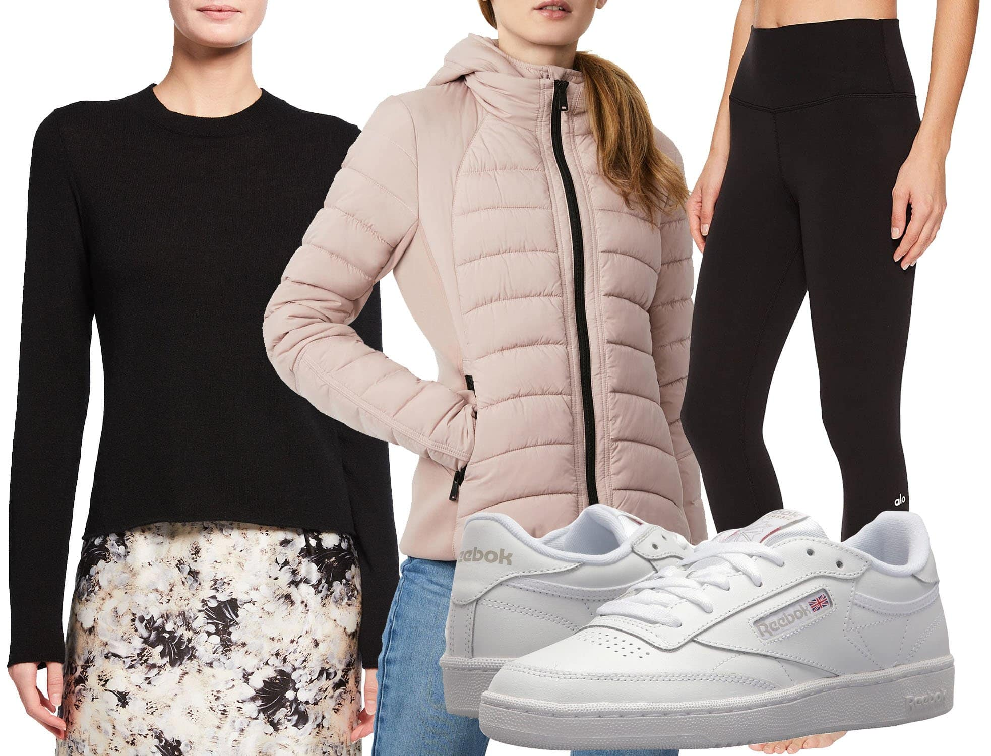 Vince Cashmere Slim Fit Crewneck Sweater, Bernardo Hooded Quilted Water Repellent Jacket, Alo 7/8 High-Waist Airbrush Leggings, Reebok Lifestyle Club C 85 Sneakers