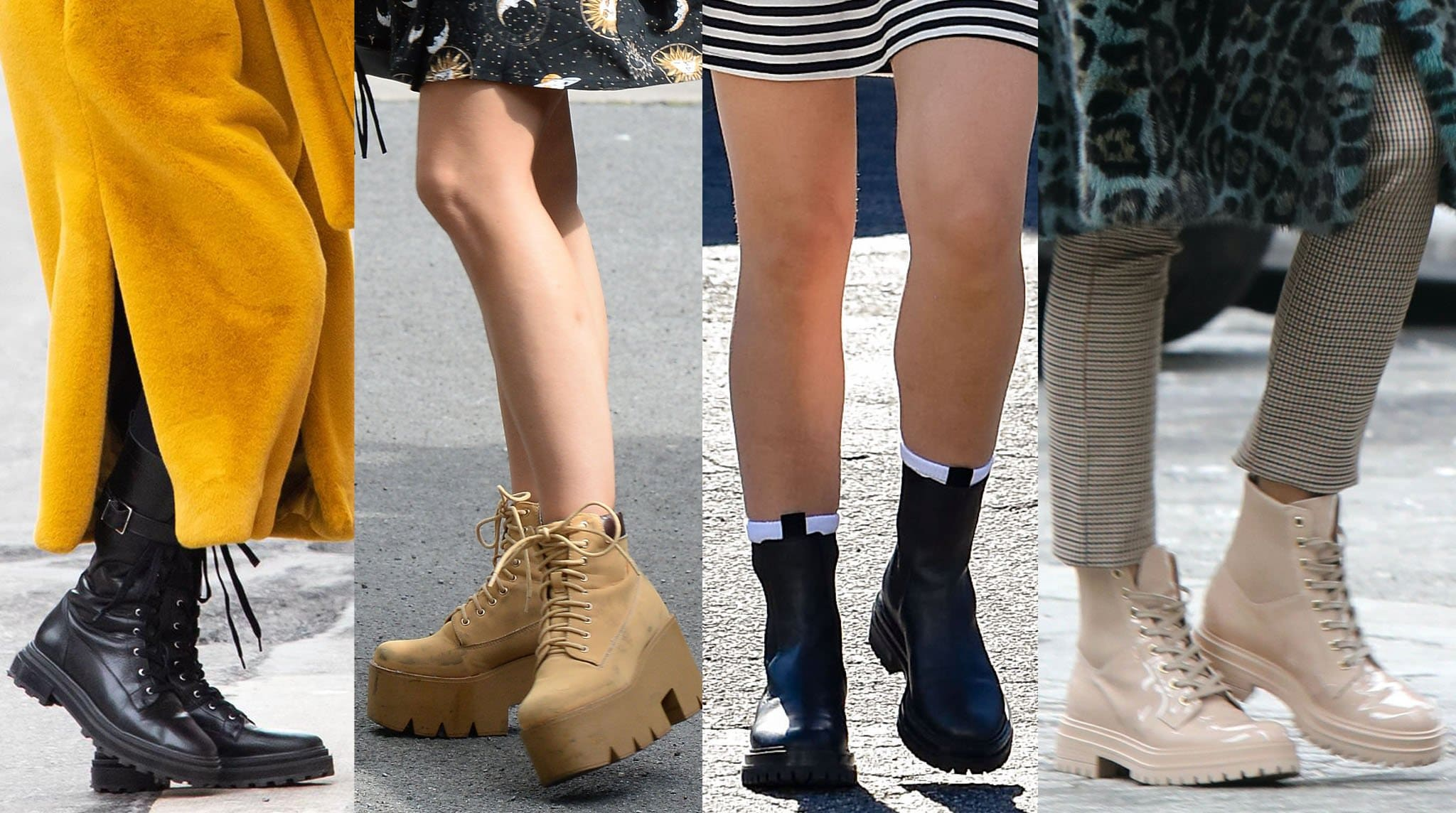 Celebrities wear the trendy chunky lug sole boots