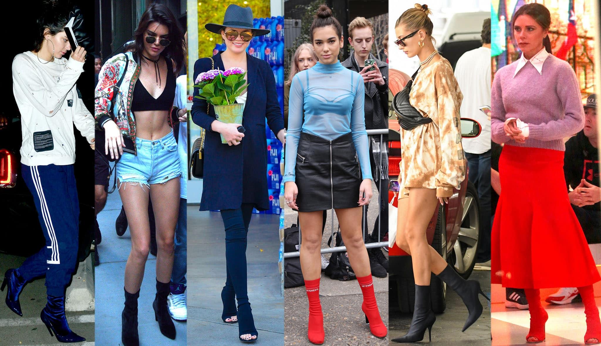 Kendall Jenner, Chrissy Teigen, Dua Lipa, Hailey Bieber, and Victoria Beckham wearing different styles of sock boots