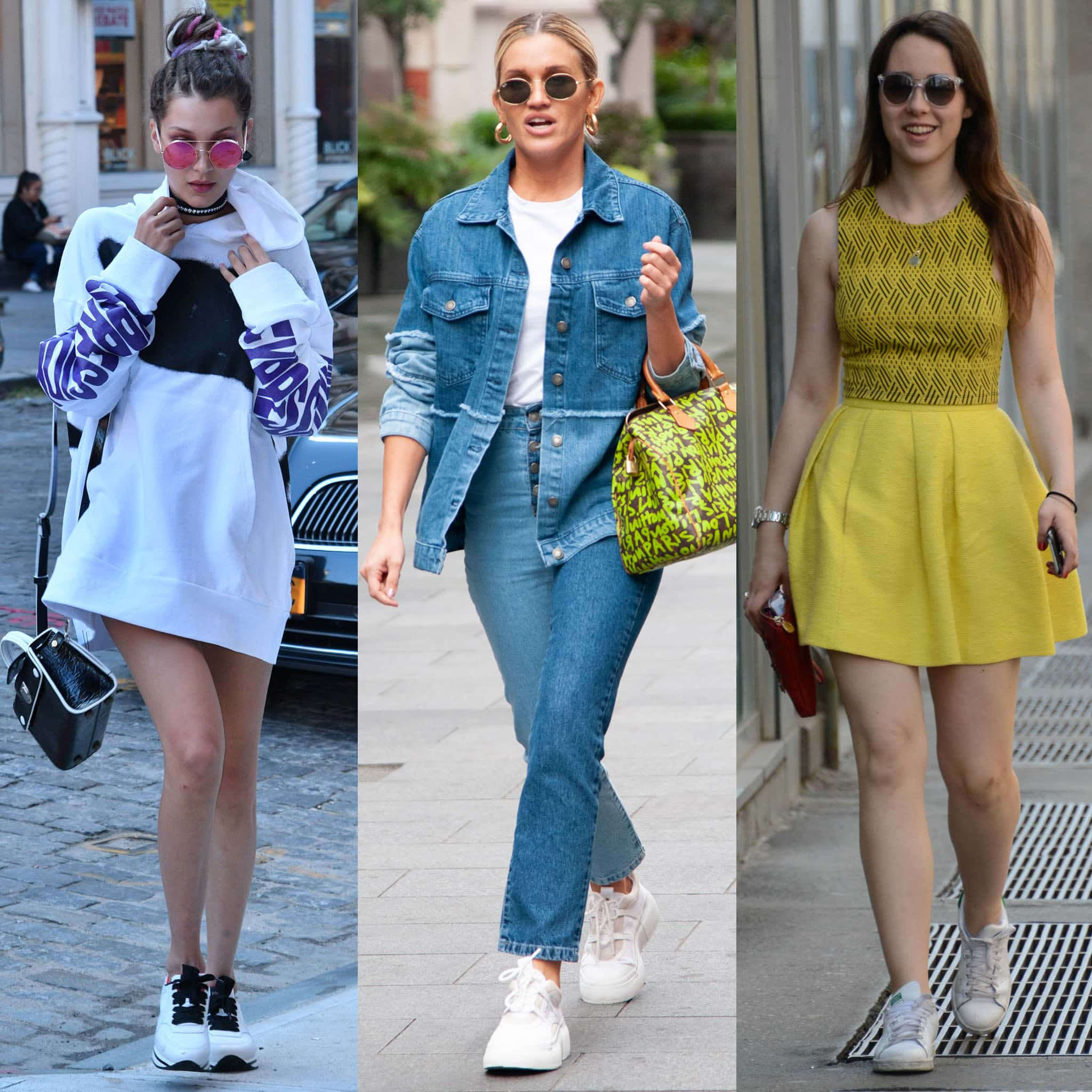 Bella Hadid, Ashley Roberts, and Aurora Ramazzotti show how to wear white sneakers in spring