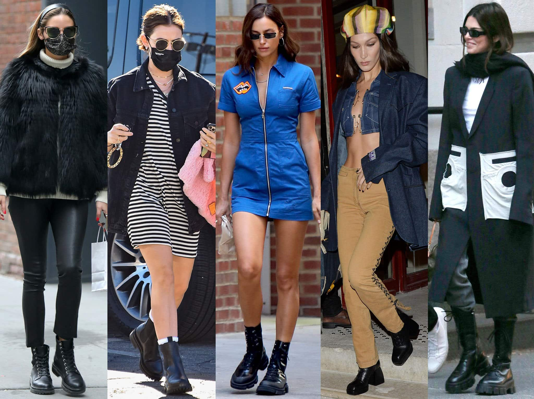 Celebrities Olivia Palermo, Lucy Hale, Irina Shayk, Bella Hadid, and Kendall Jenner are embracing the lug sole boot trend