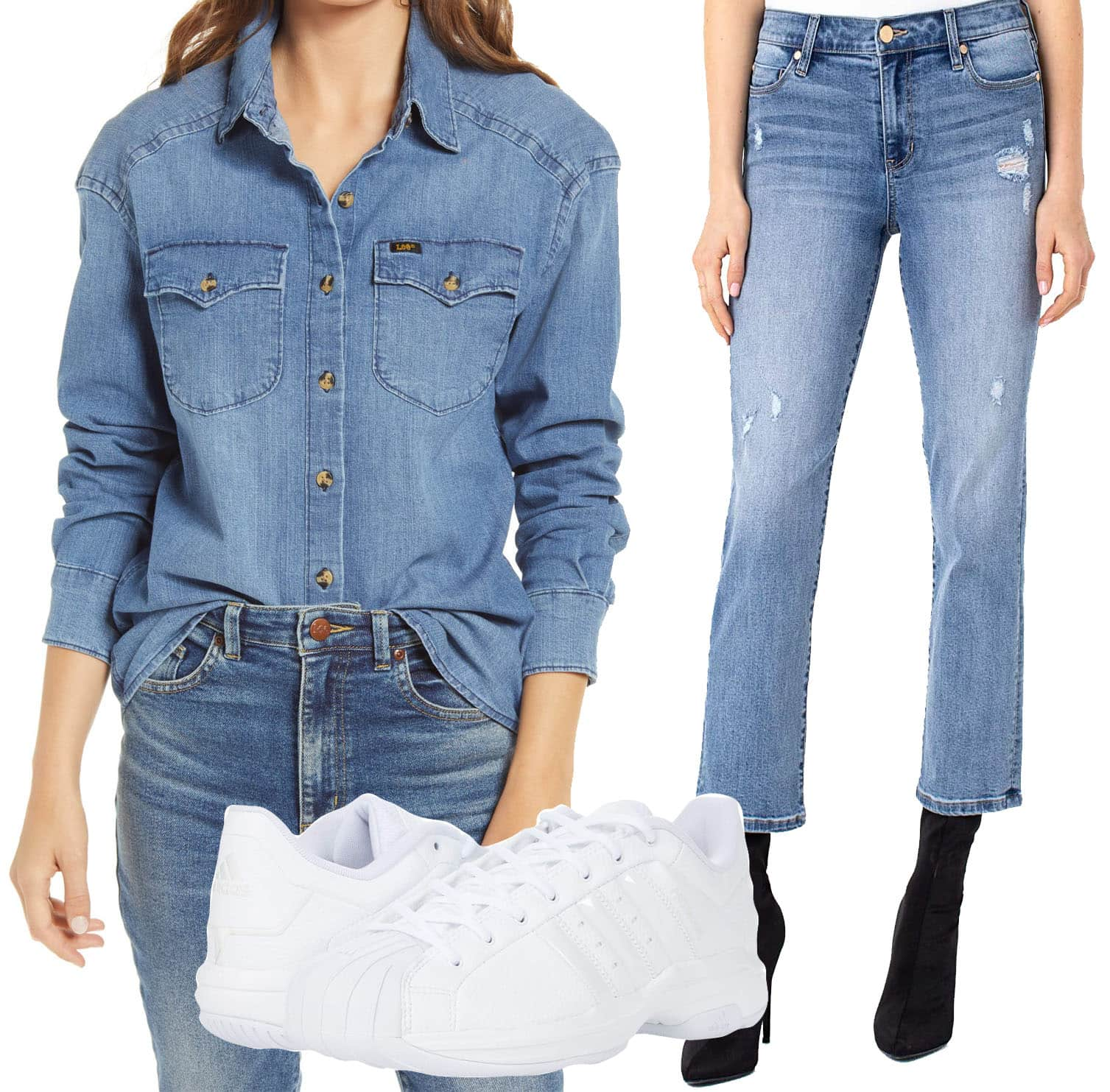 Lee Frontier Western Button Front Denim Shirt, Liverpool Crop Straight Jeans with Destruct in Gordon, Adidas sneakers