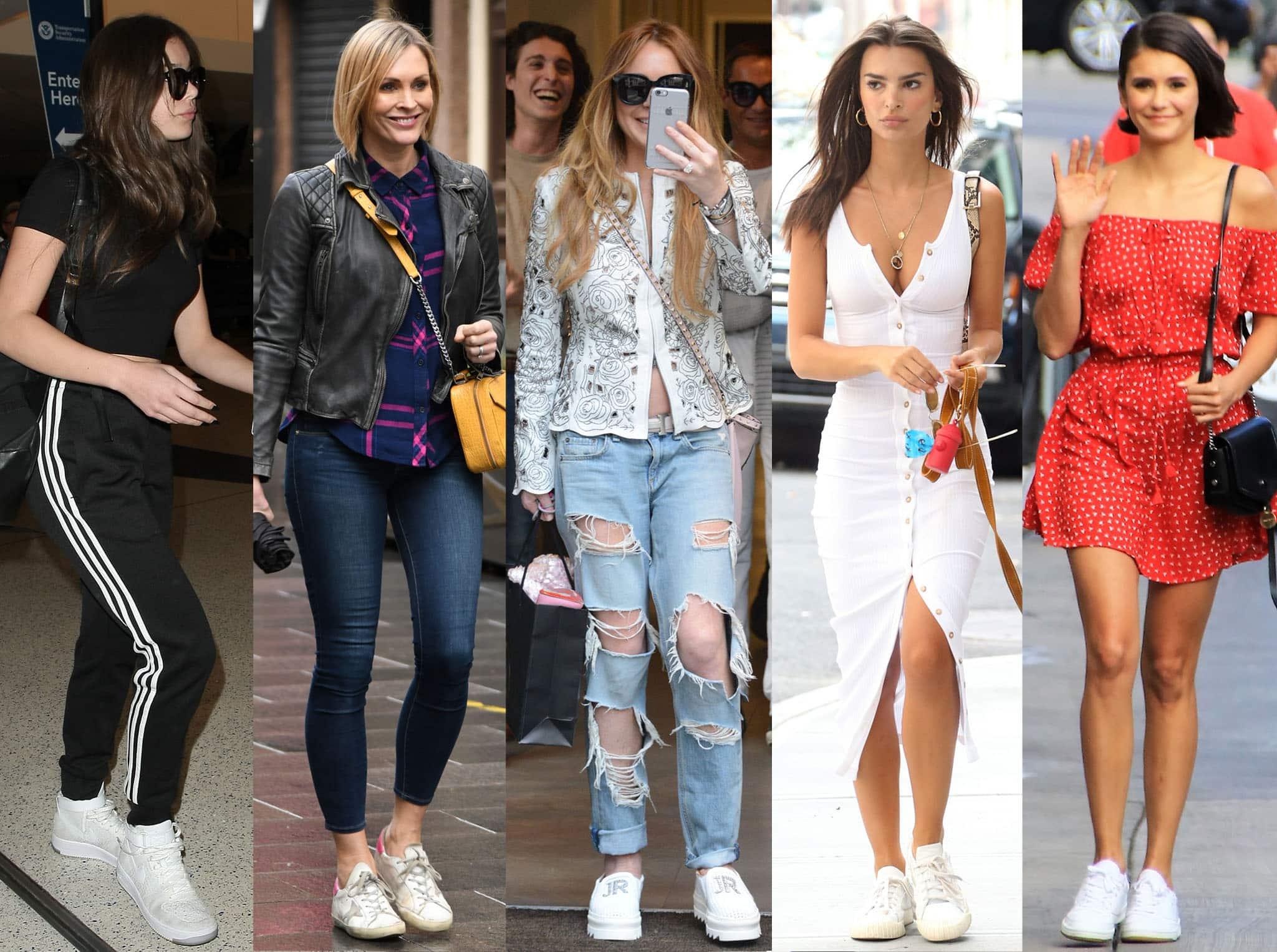 Hailee Steinfeld, Jenni Falconer, Lindsay Lohan, Emily Ratajkowski, and Nina Dobrev show different ways to wear white sneakers