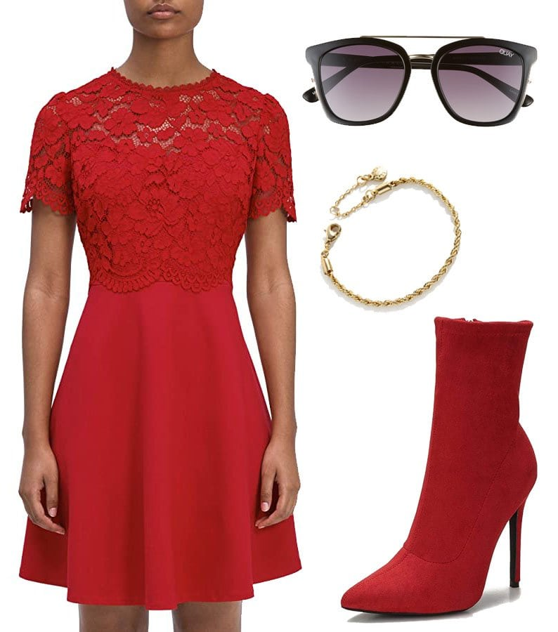 Kate Spade New York Rose Lace Bodice Ponte Dress, Quay Australia Sweet Dreams 51mm Square Sunglasses, Bauble Bar Mini Petra Bracelet, CAMSSOO Sock Booties Suede Heels Ankle Boots