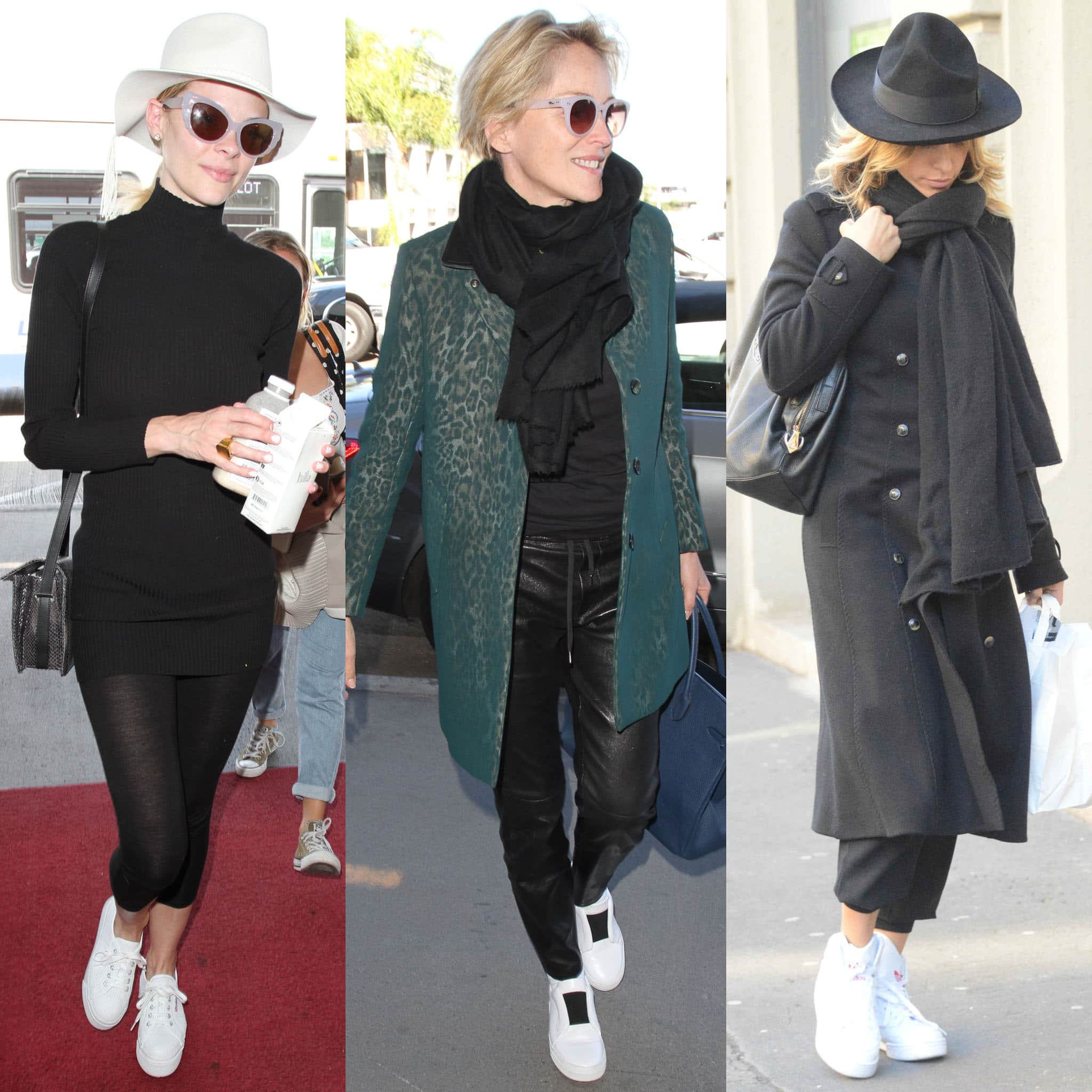 Jaime King, Sharon Stone, and Elisabetta Canalis prove that white shoes can be worn during winter