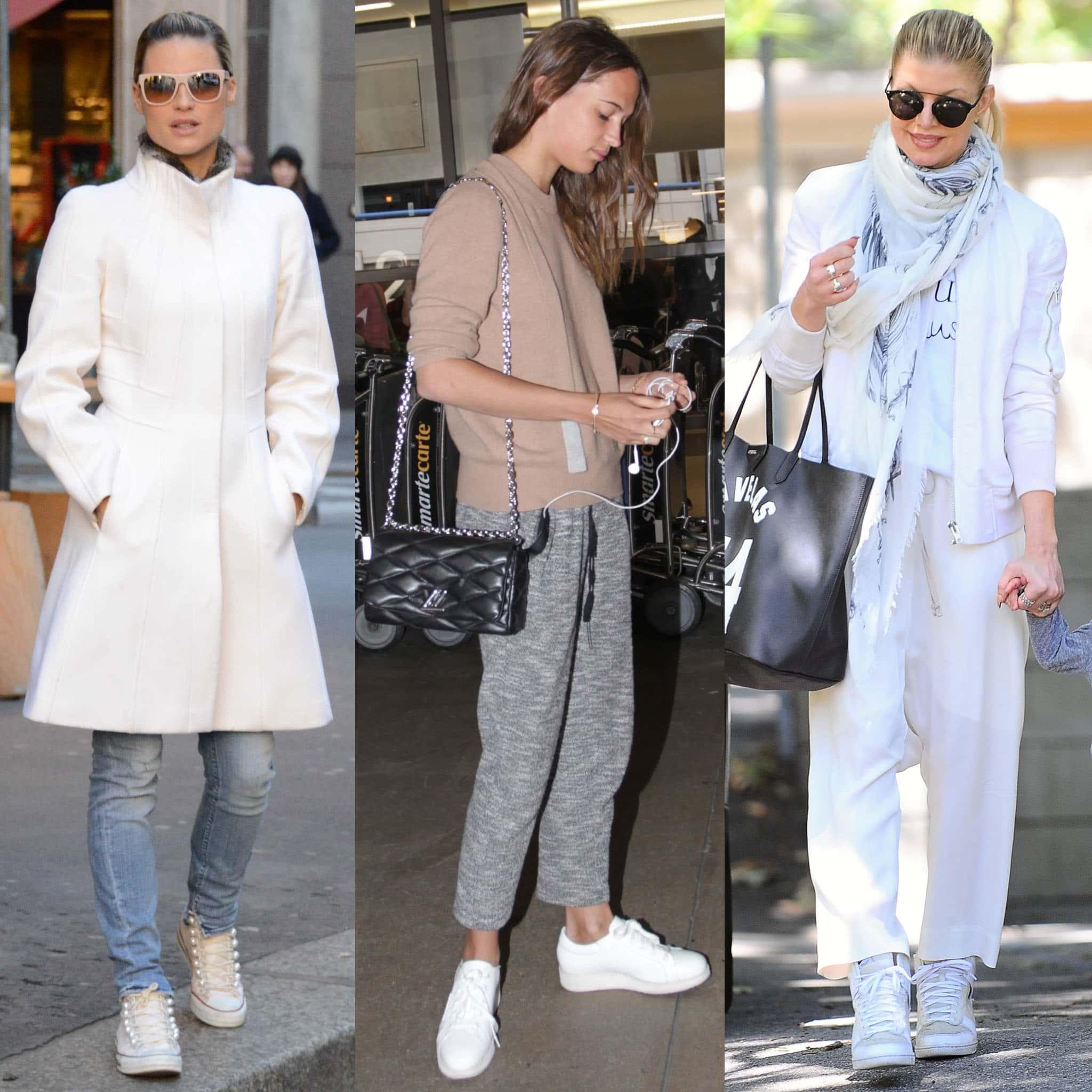 Michelle Hunziker, Alicia Vikander, and Fergie wears white sneakers in fall